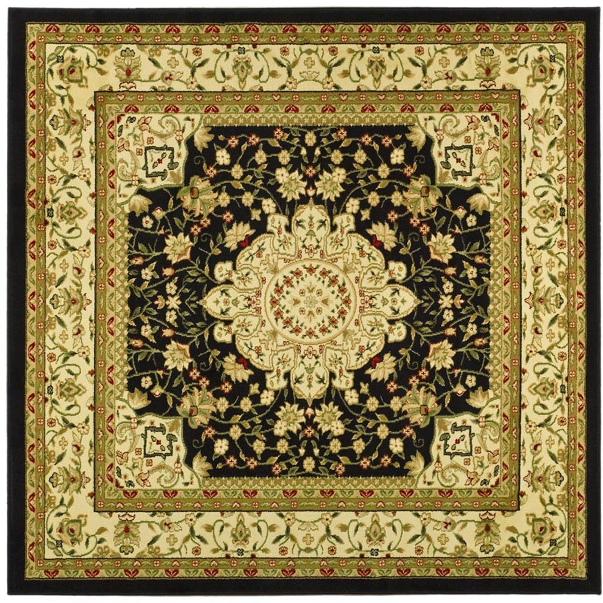 Ottis Black/Ivory Area Rug Rug Size: Square 8'