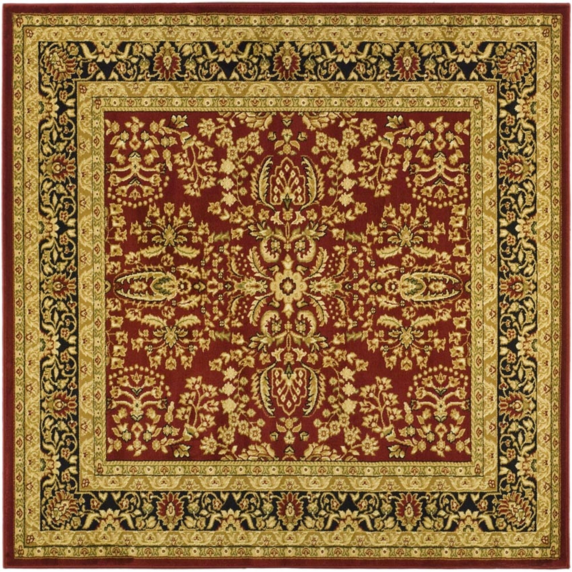 Ottis Red/Black Area Rug Rug Size: Square 10'