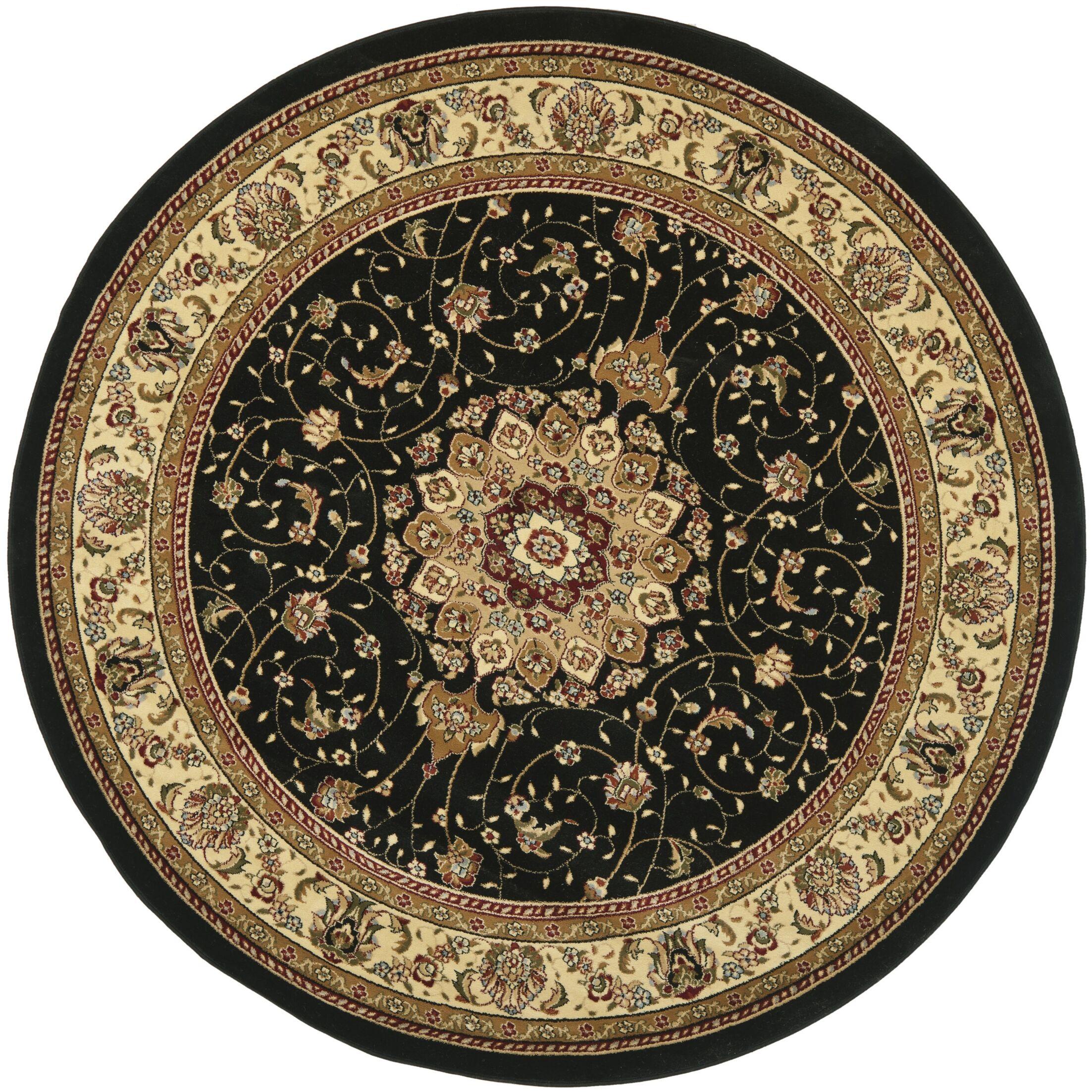 Ottis Black/Ivory Area Rug Rug Size: Round 8'