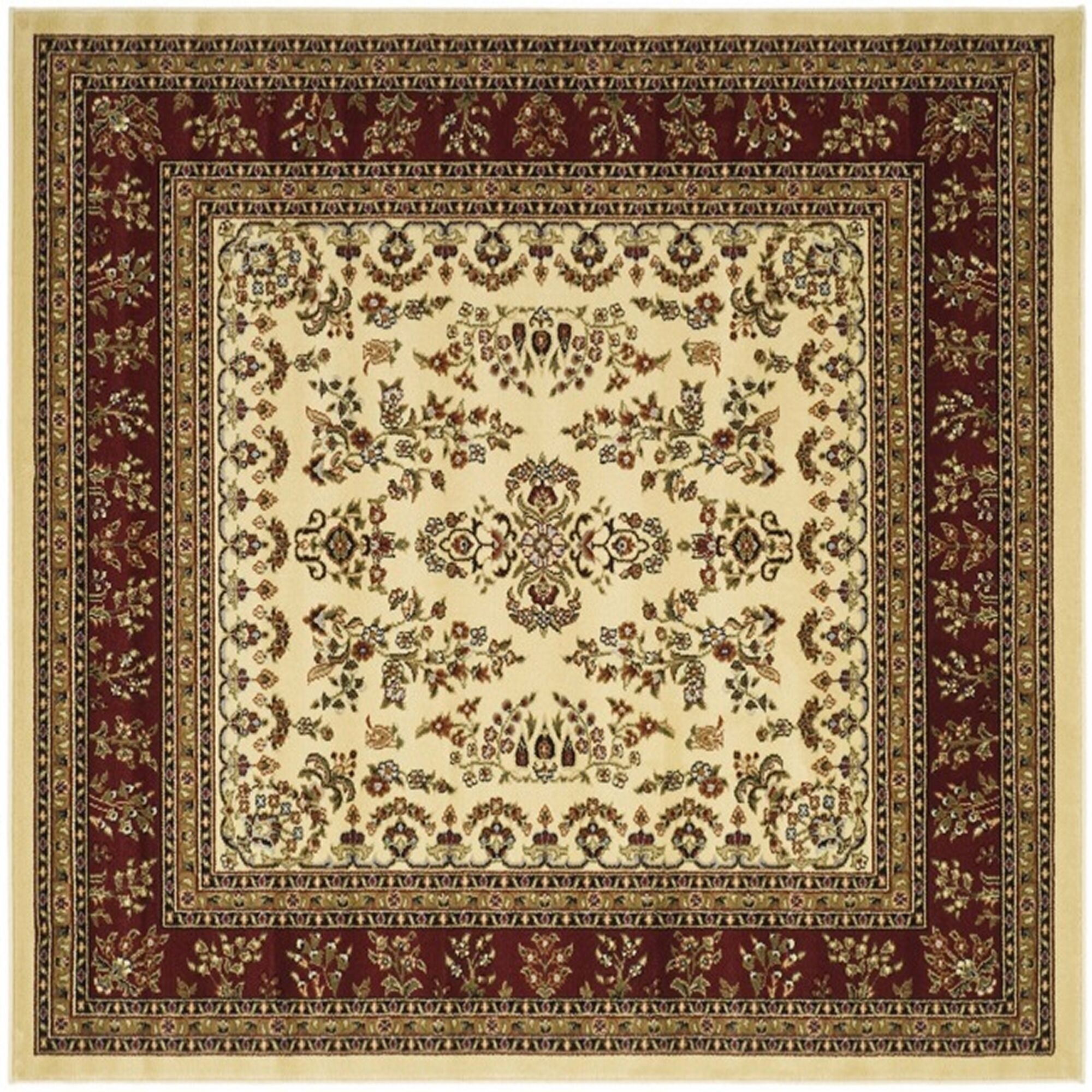 Ottis Ivory/Red Area Rug Rug Size: Square 6'