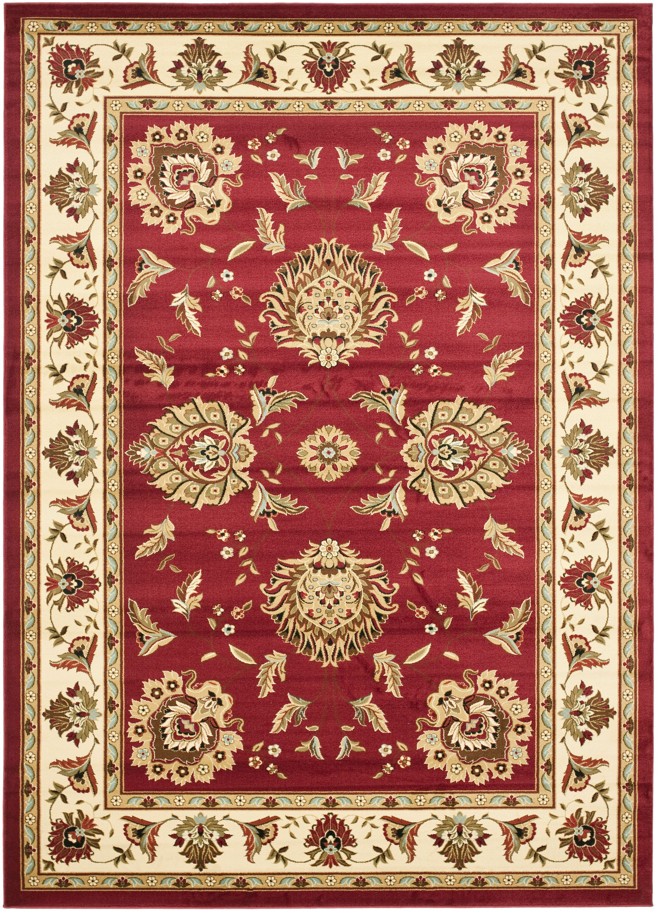 Ottis Red/Ivory Area Rug Rug Size: Rectangle 4' x 6'