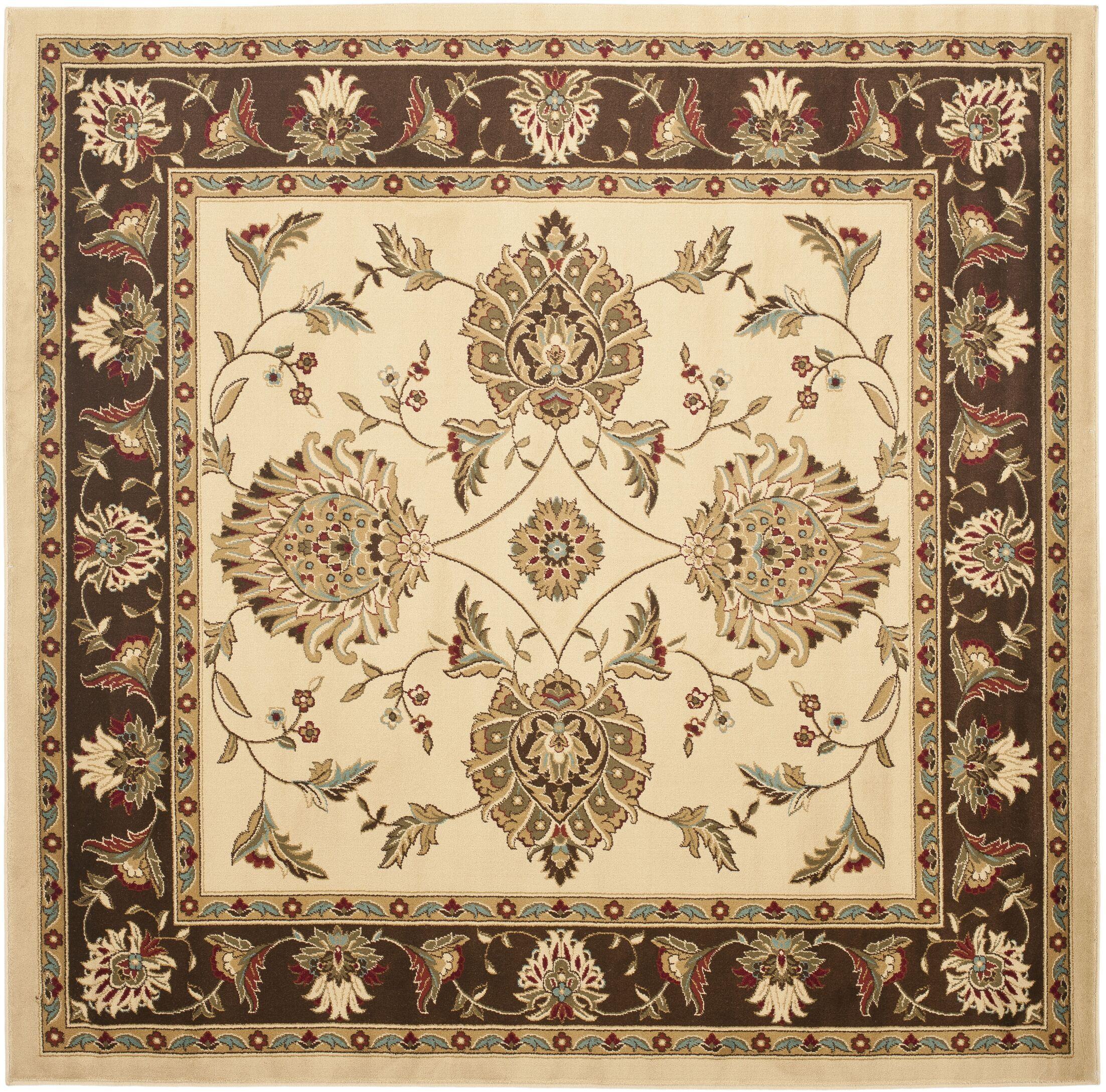 Ottis Ivory/Brown Area Rug Rug Size: Square 6'7