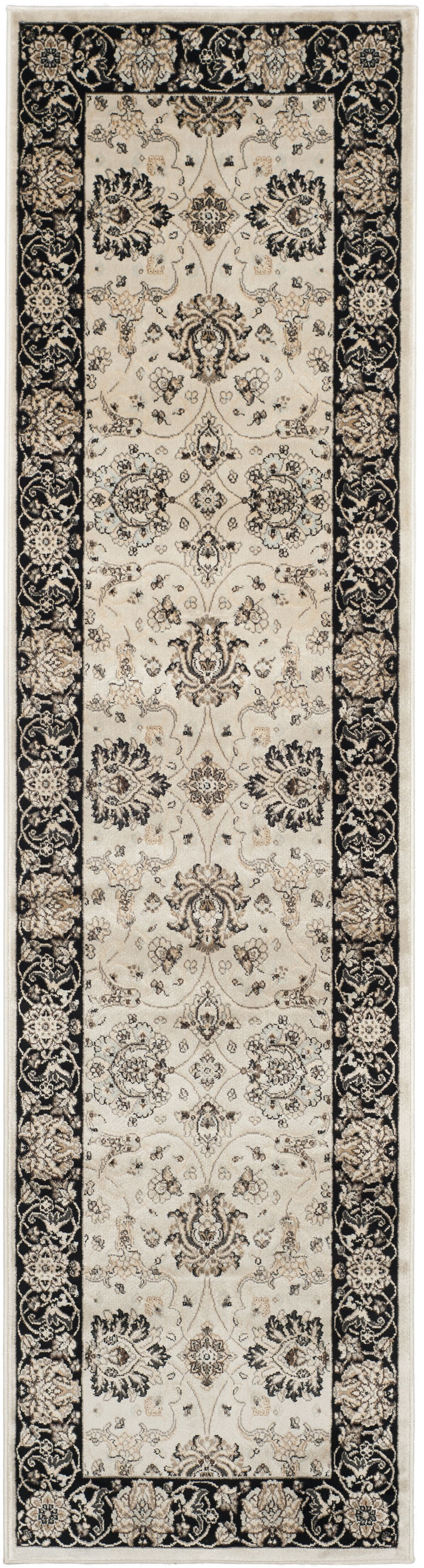 Petronella Ivory/Black Area Rug Rug Size: Runner 2'2