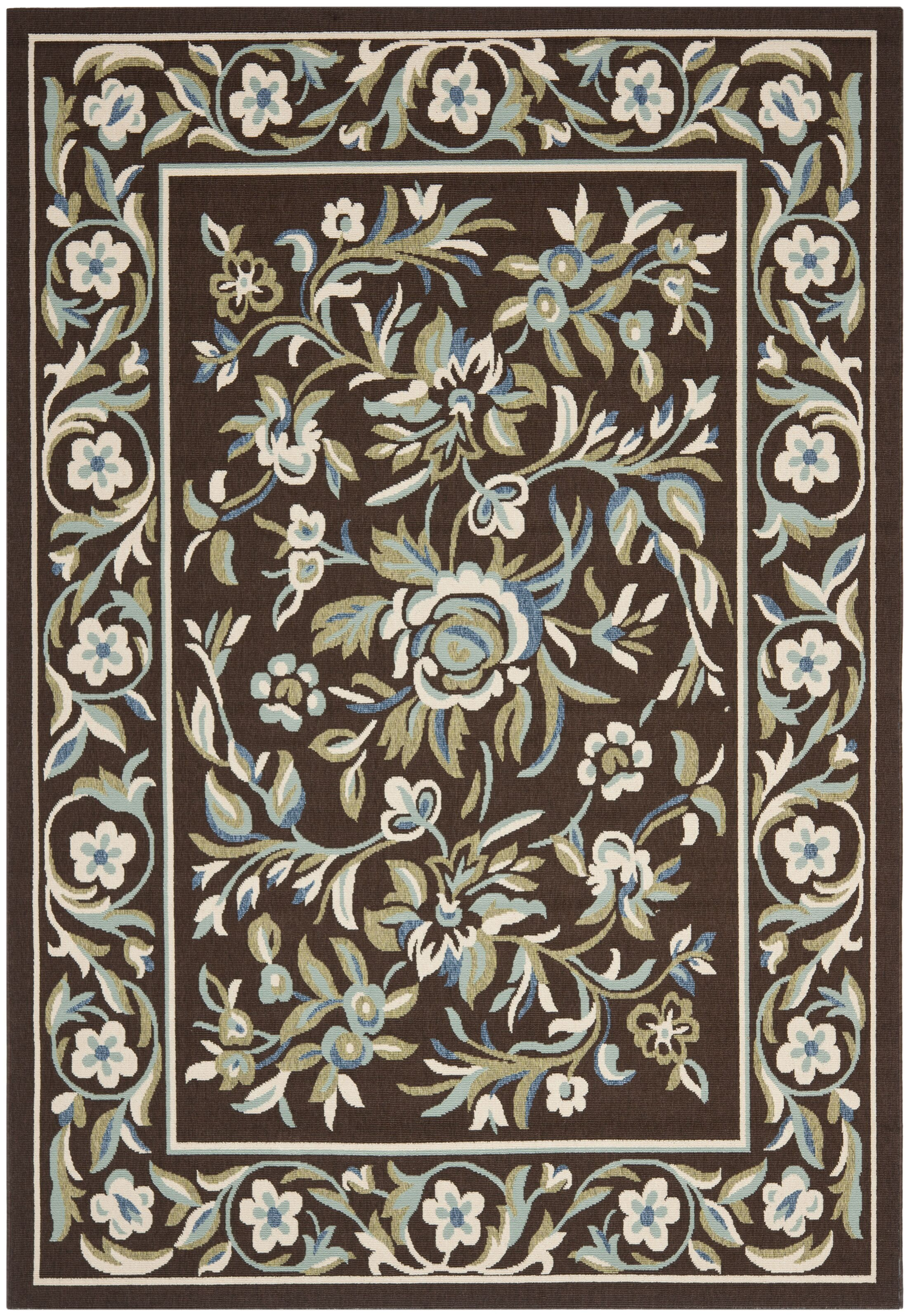 Rennie Chocolate/Aqua Indoor/Outdoor Area Rug Rug Size: Rectangle 4' x 5'7