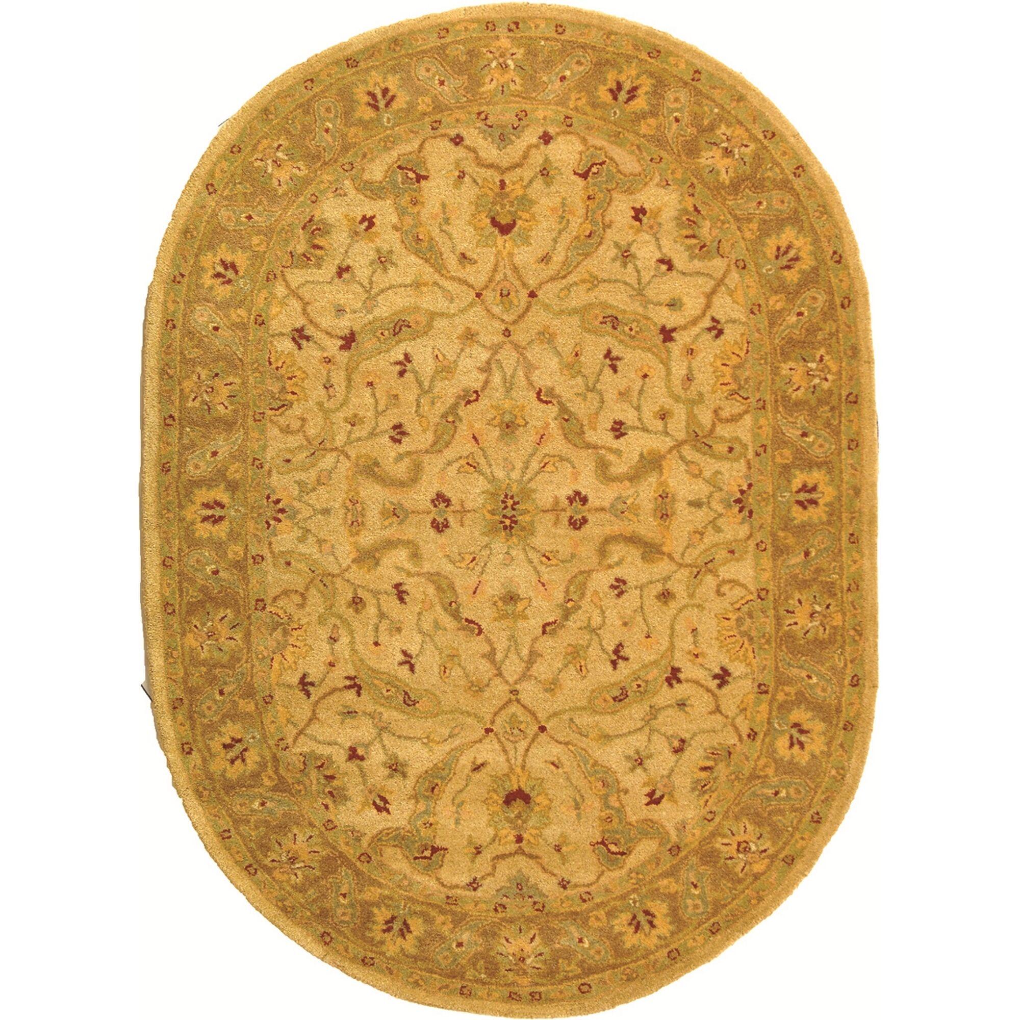 Dunbar Hand-Woven Wool Ivory/Brown Area Rug Rug Size: Oval 7'6