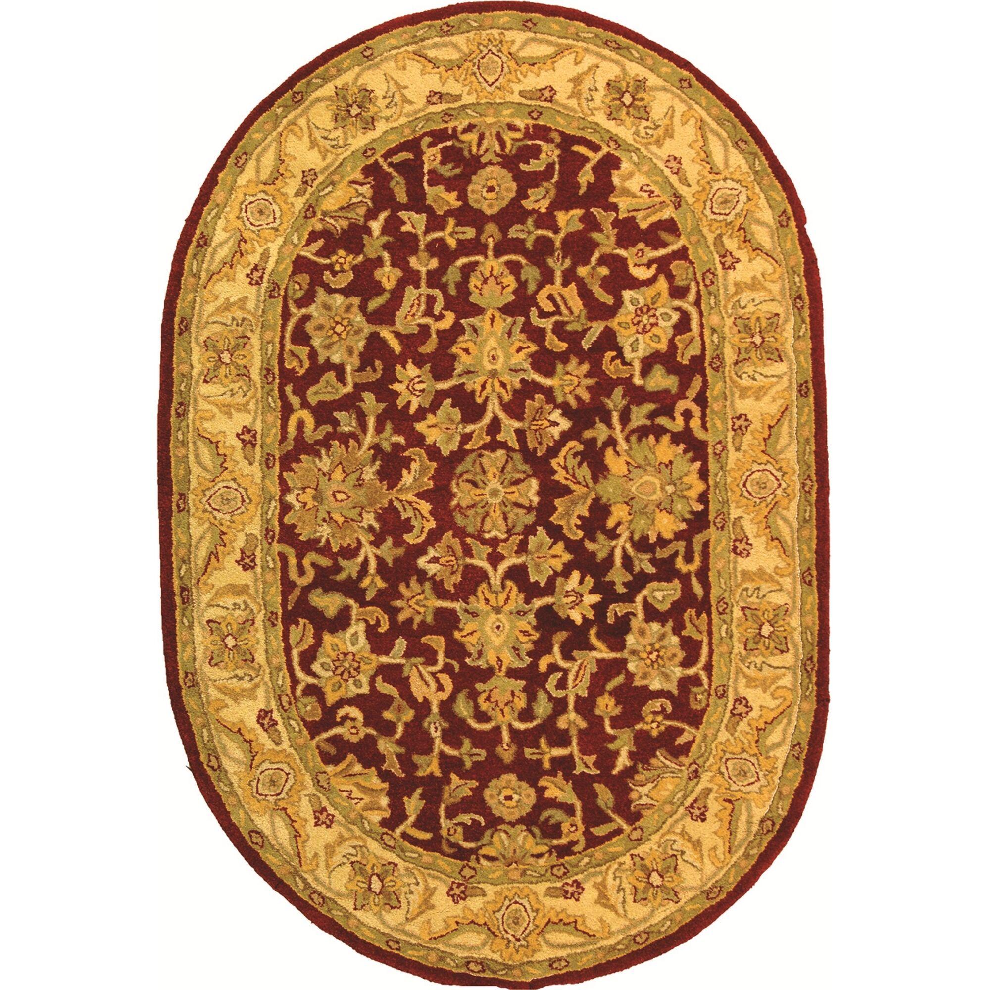 Dunbar Red/Gold Area Rug Rug Size: Oval 7'6