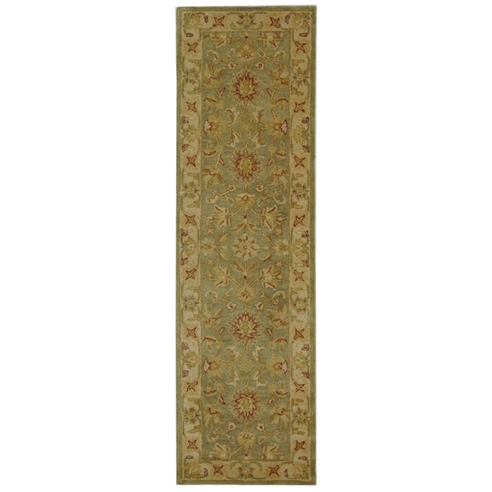 Dunbar Hand-Woven Wool Moss Green/Gold Area Rug Rug Size: Runner 2'3