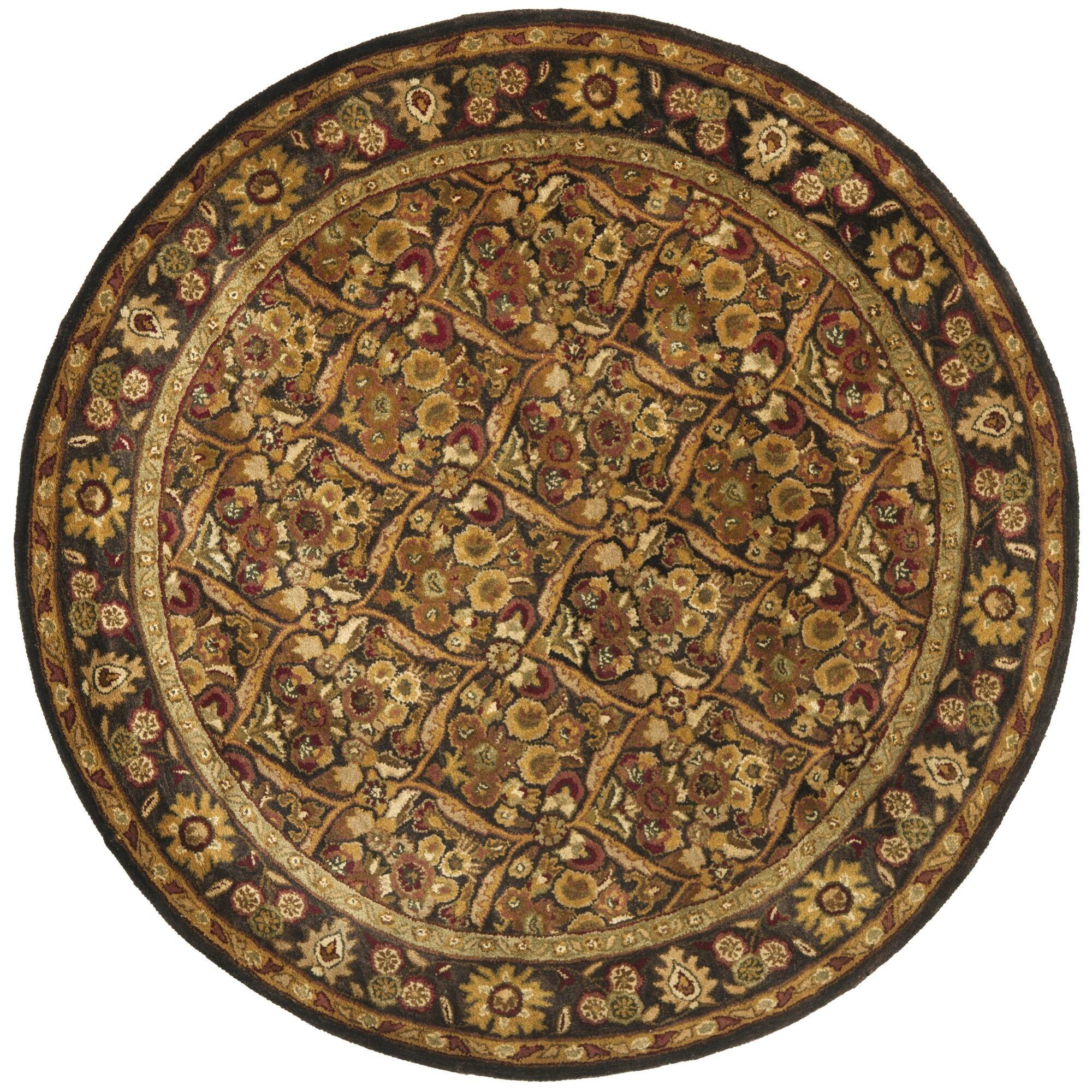 Dunbar Garden Panel Dark Plum/Gold Area Rug Rug Size: Round 3'6