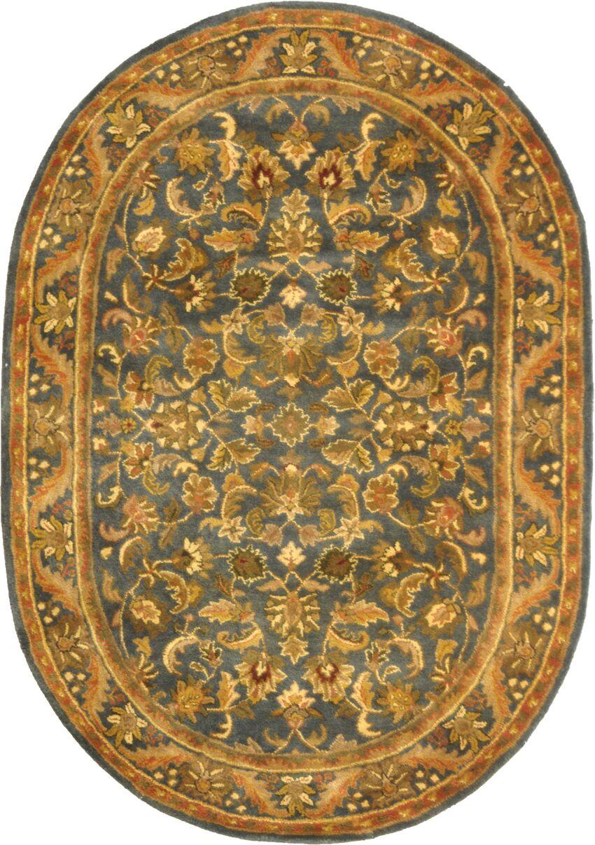 Dunbar Blue/Gold Area Rug Rug Size: Oval 4'6