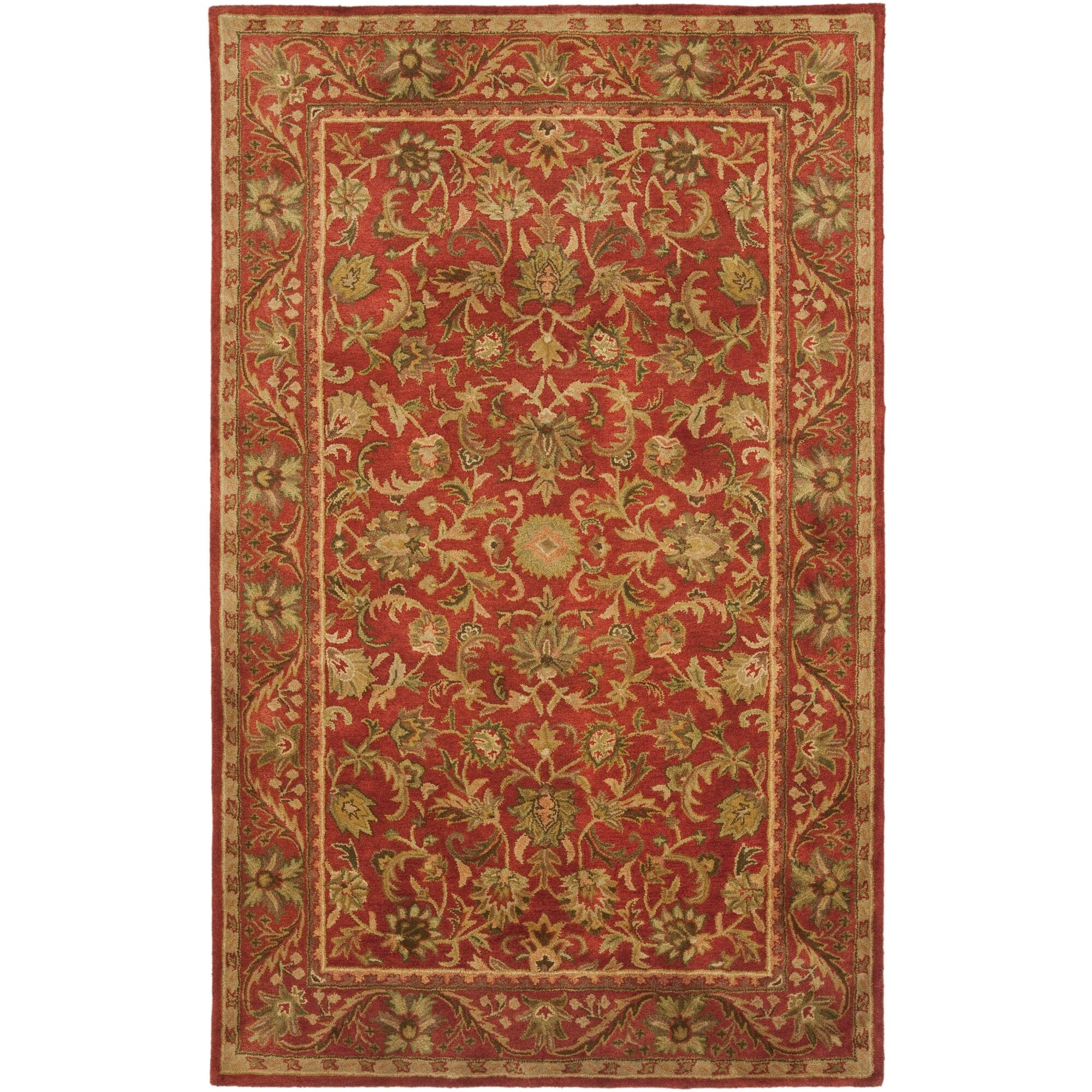 Dunbar Hand-Woven Wool Red/Gold/Green Area Rug Rug Size: Rectangle 6' x 9'