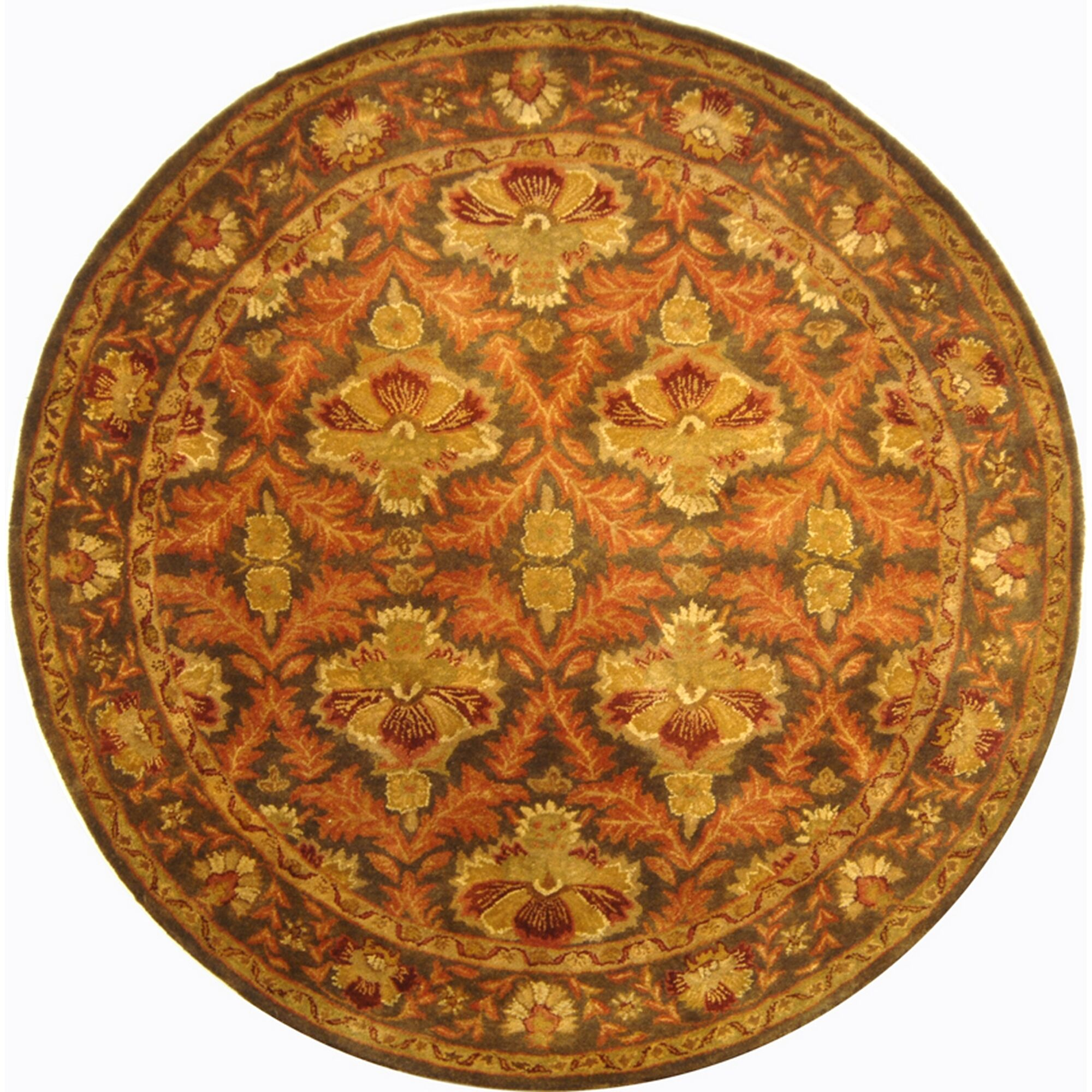 Dunbar Hand-Tufted/Hand-Hooked Wool Sage/Gold Area Rug Rug Size: Round 3'6