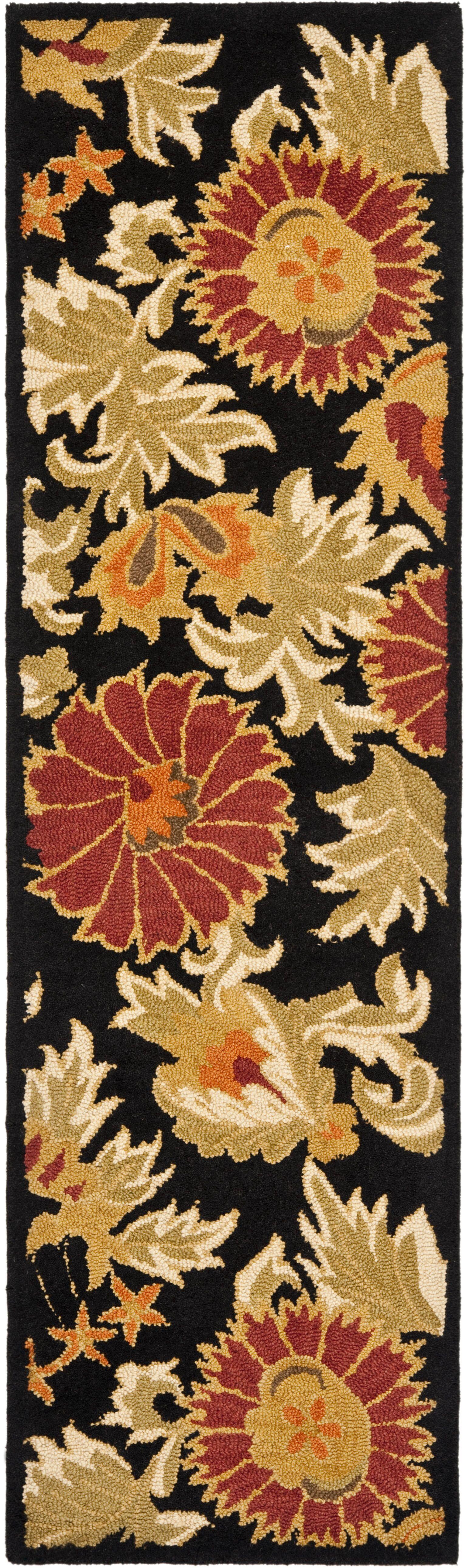 Bradwood Hand-Woven Wool Black Area Rug Rug Size: Runner 2'3