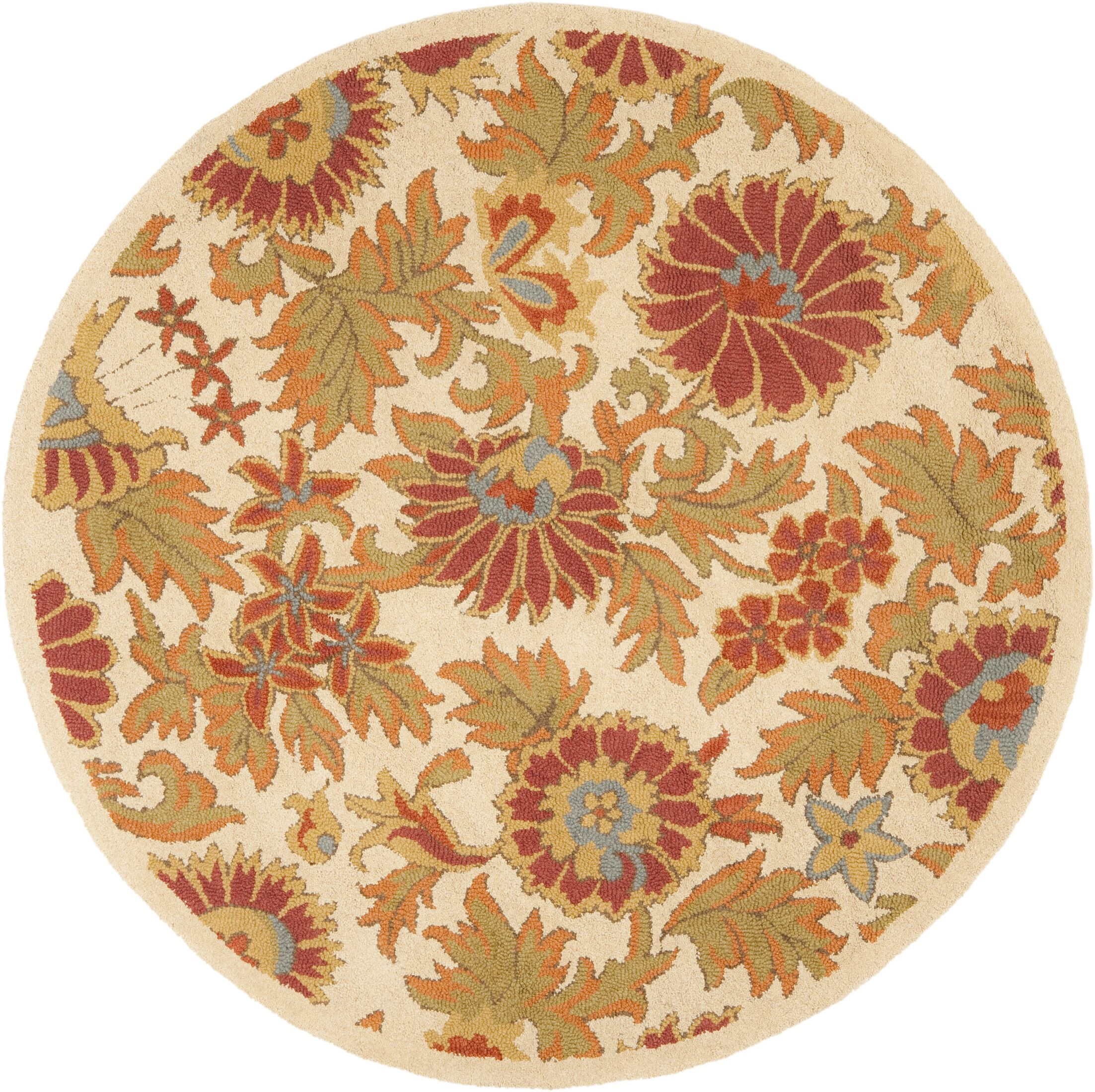 Bradwood Hand-Woven Wool Ivory/Red Area Rug Rug Size: Round 4'