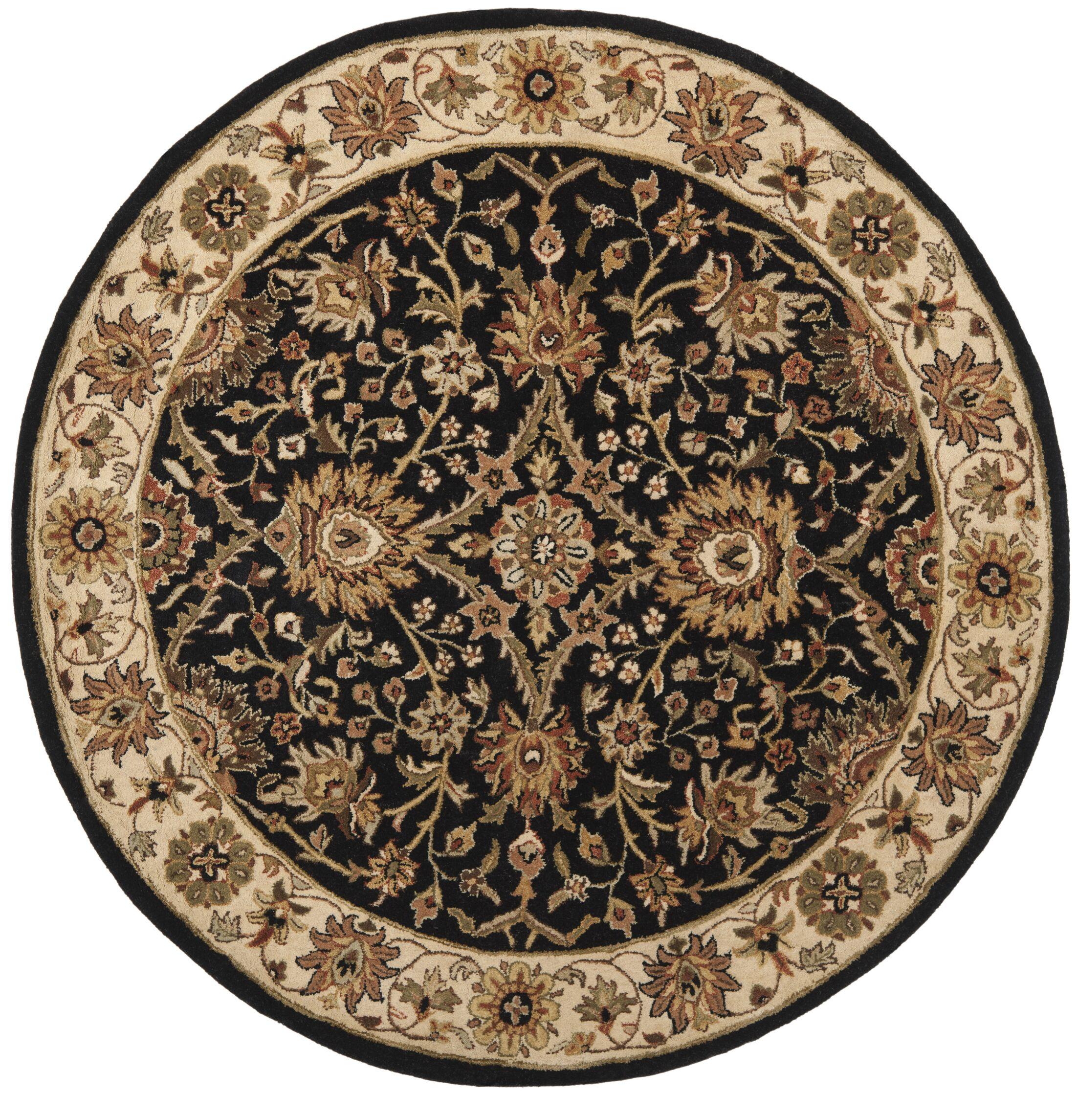 Dunbar Hand-Woven Wool Black Area Rug Rug Size: Round 6'