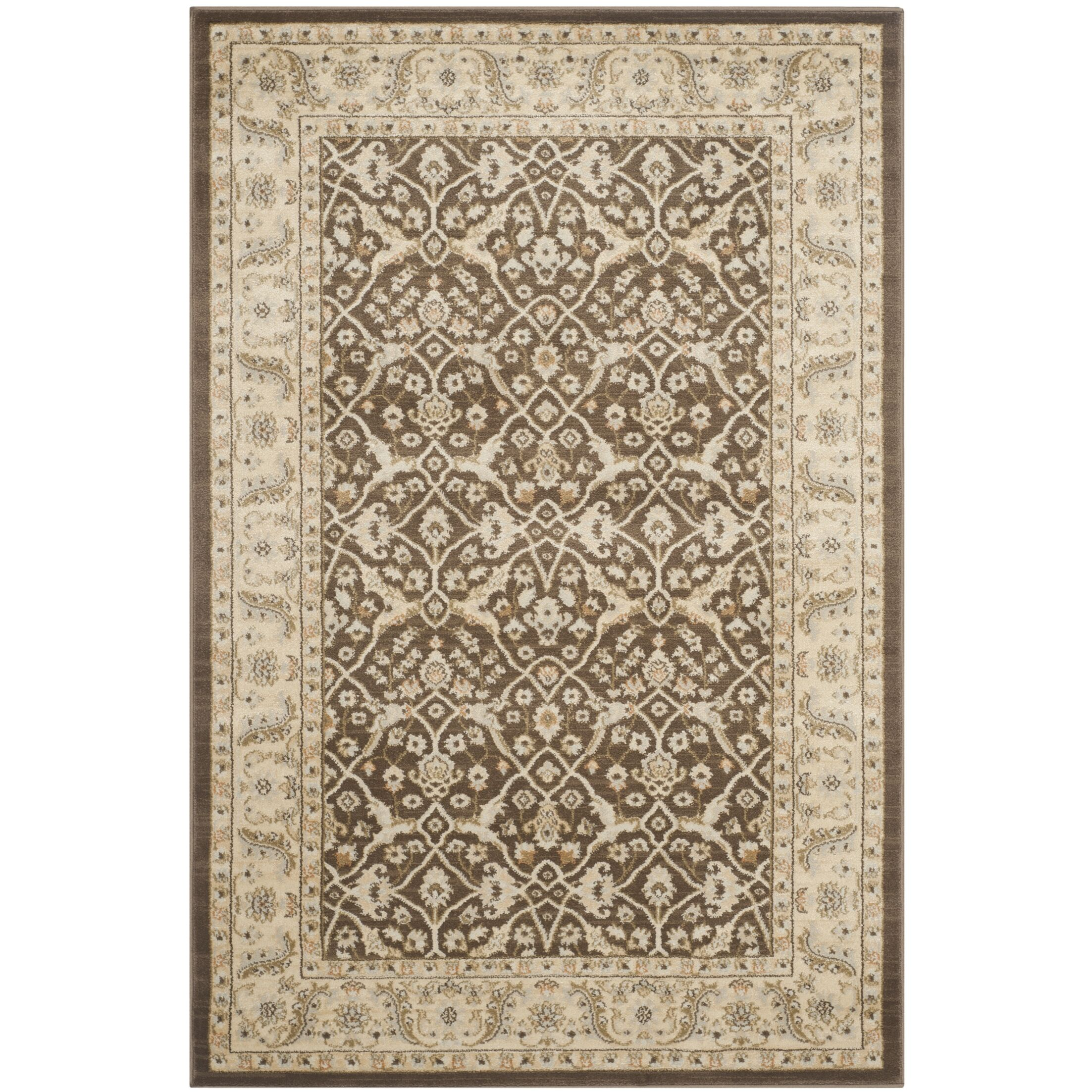 Lavelle Brown / Ivory Area Rug Rug Size: Rectangle 4' x 6'