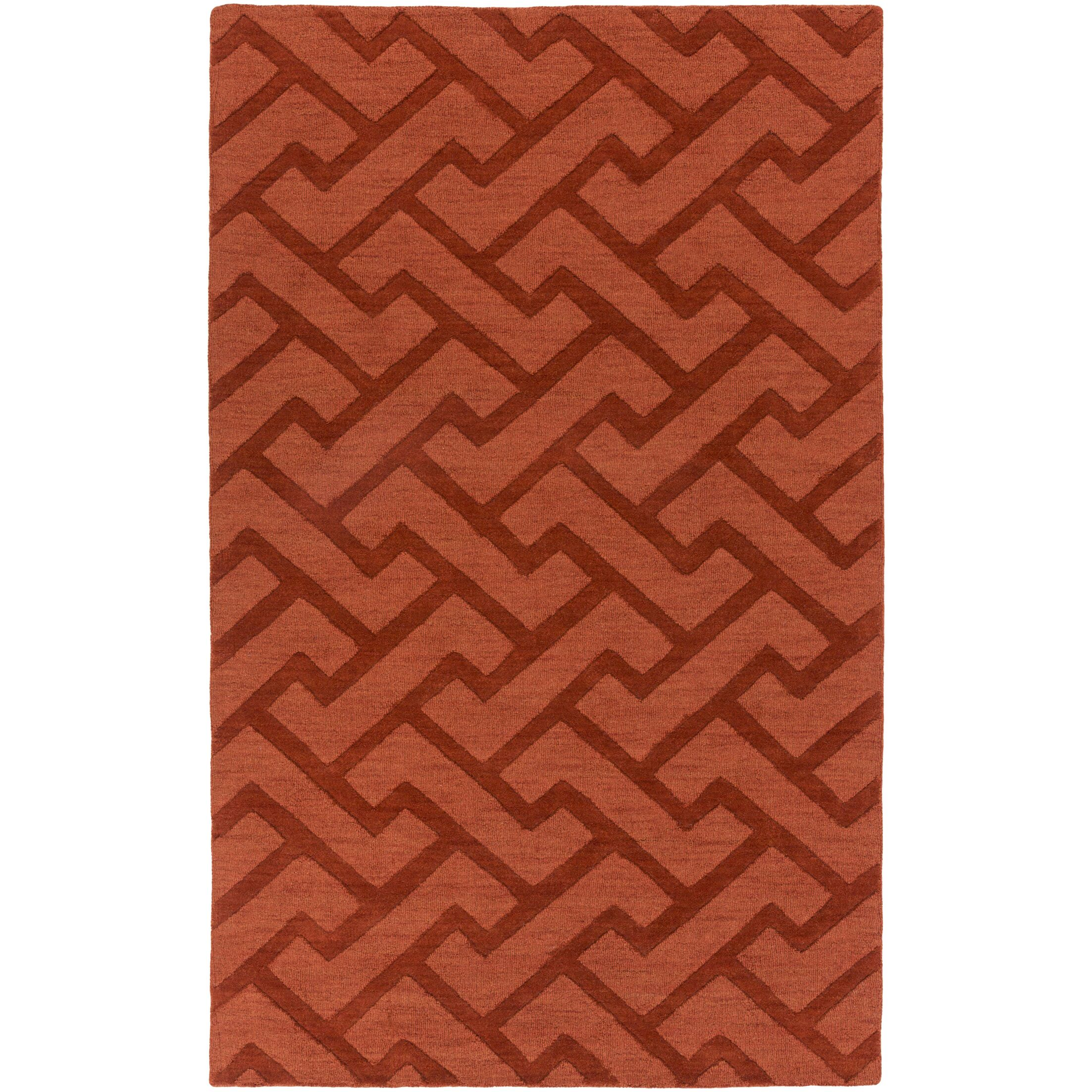 Villegas Hand-Loomed Dark Red Area Rug Rug Size: Rectangle 8' x 11'