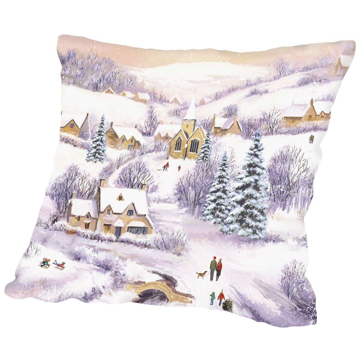 Pearson Family Winter Scene Throw Pillow Size: 14