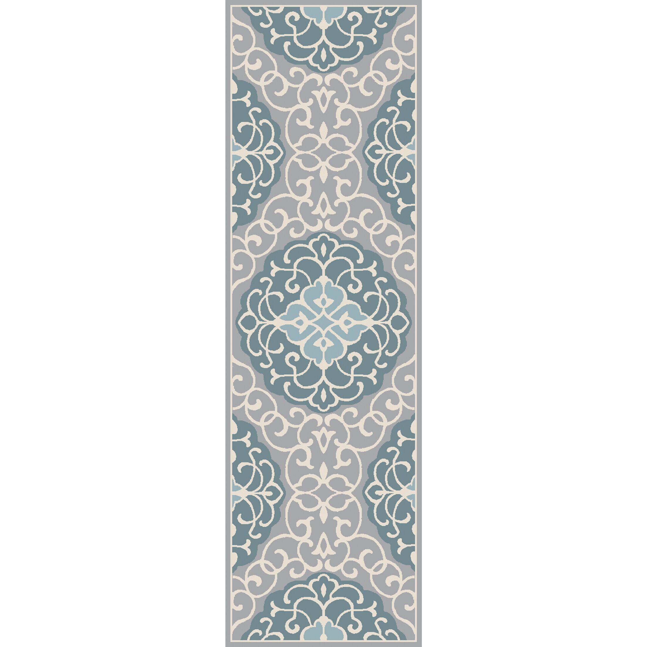 Windsor Hand-Tufted Aqua/Light Gray Area Rug Rug Size: Rectangle 3'6