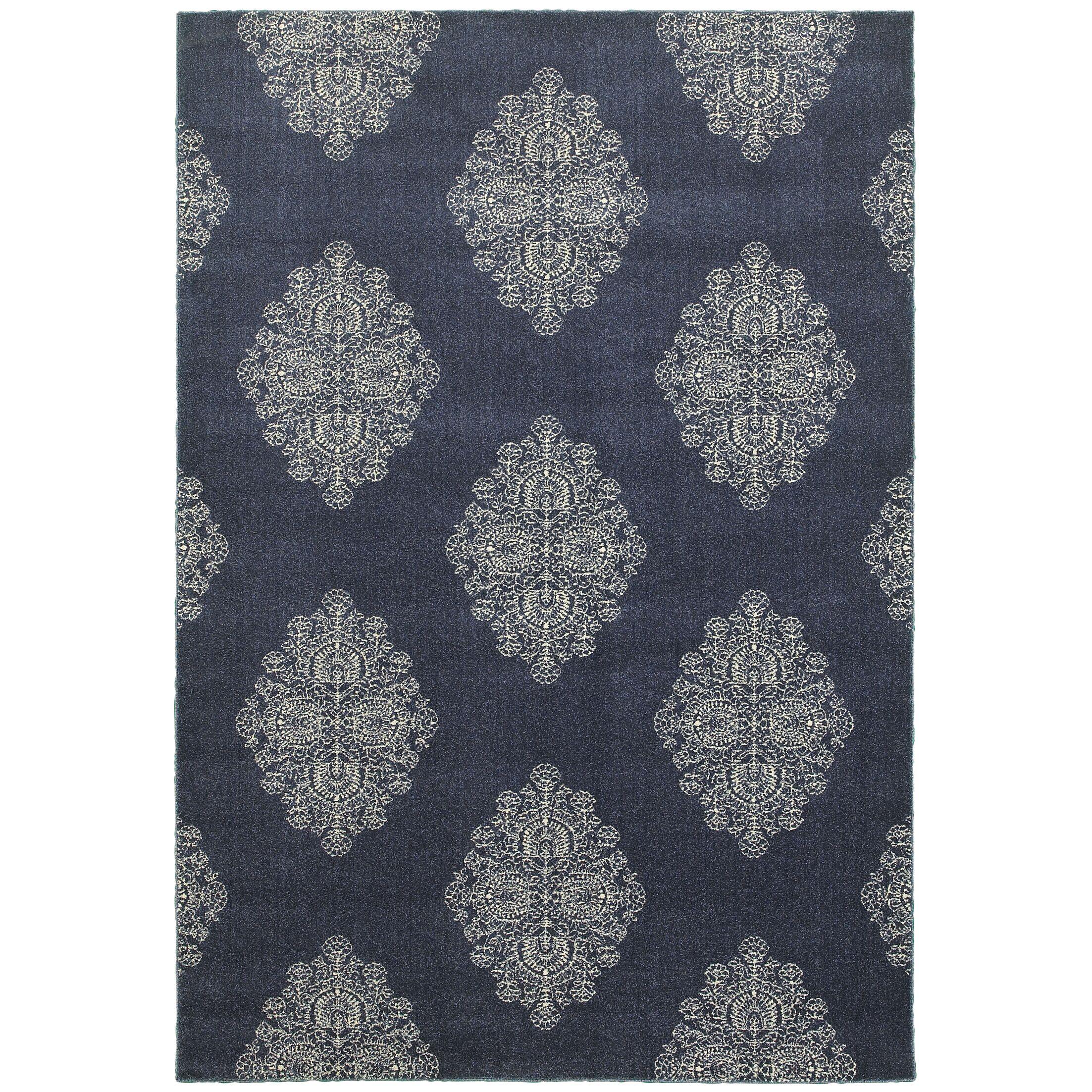 Darren Blue/Ivory Area Rug Rug Size: Rectangle 5'3