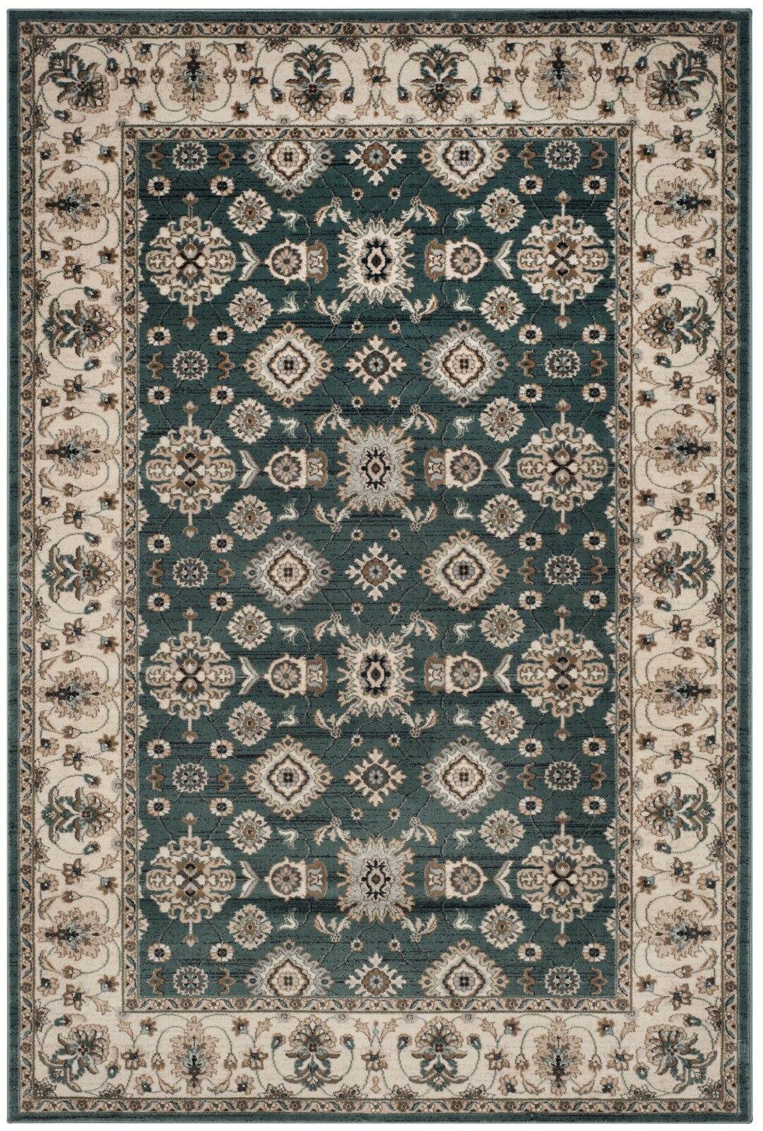 Briarcliff Teal/Cream Area Rug Rug Size: Rectangle 9' x 12'