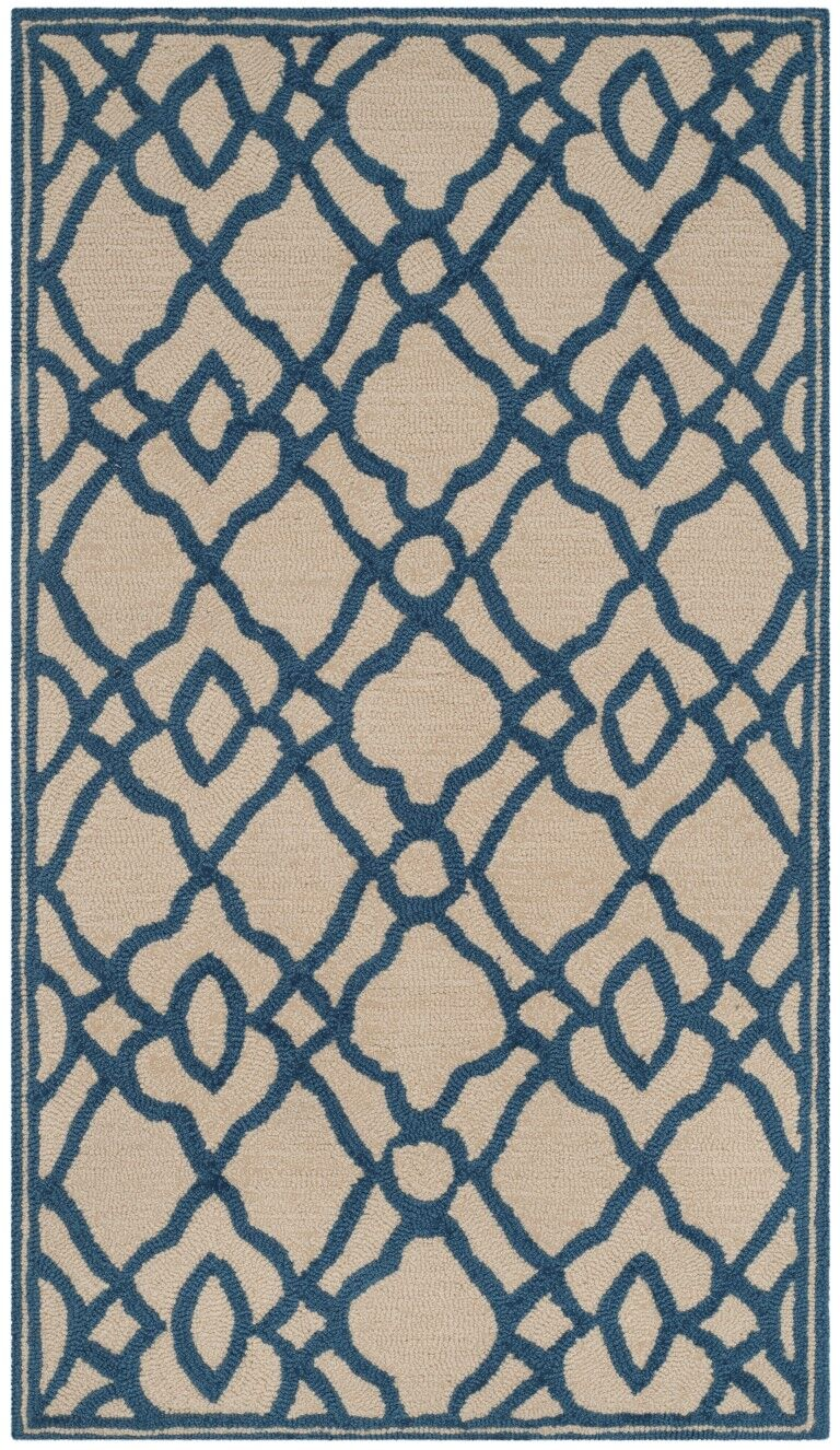 Childers Hand-Hooked Ivory/Blue Area Rug Rug Size: Rectangle 5' x 7'