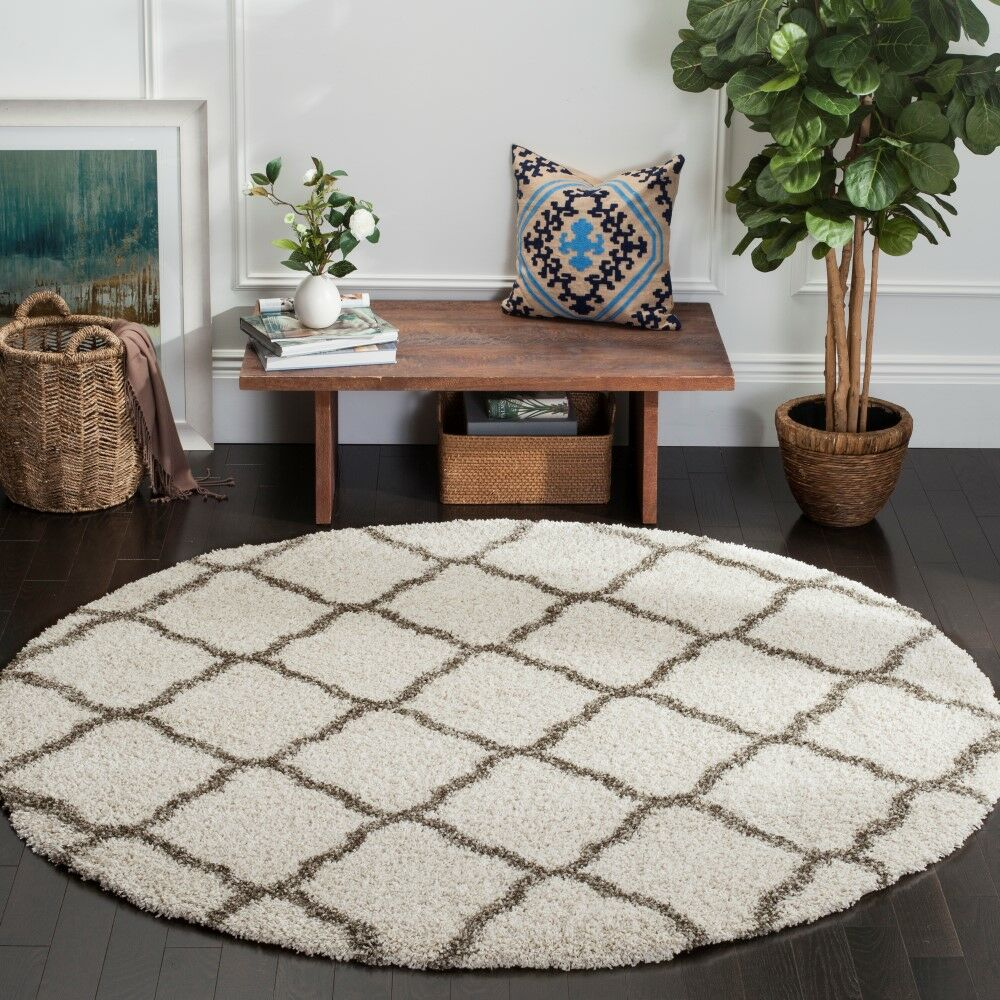 Buford Ivory/Gray Area Rug Rug Size: Round 7'