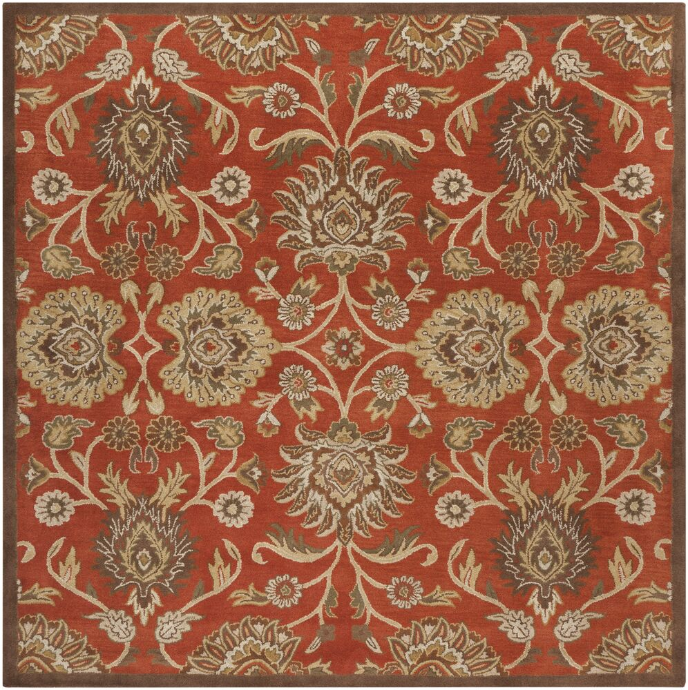 Mcloon Hand-Woven Wool Red Area Rug Rug Size: Round 6'