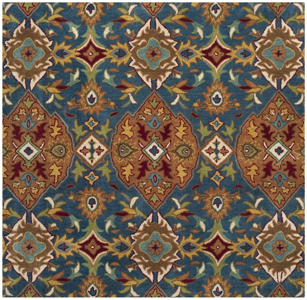 Cranmore Hand-Tufted Brown/Blue Area Rug Rug Size: Square 6'