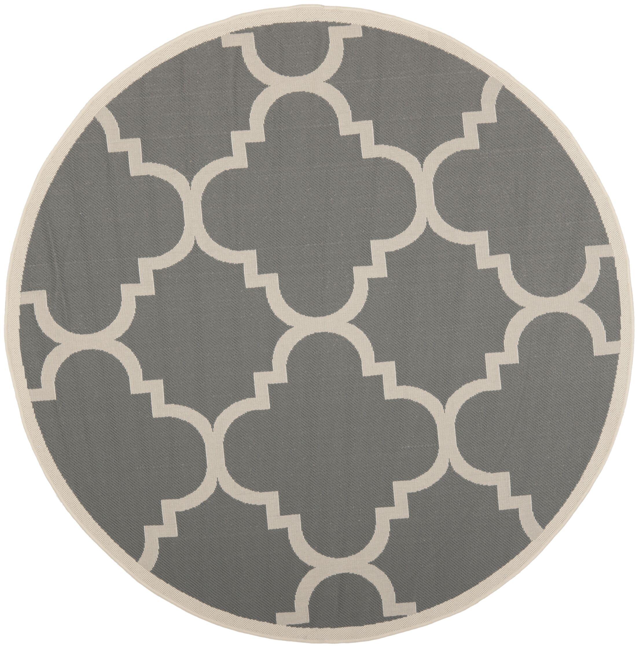 Octavius Gray/Beige Indoor/Outdoor Area Rug Rug Size: Round 4'