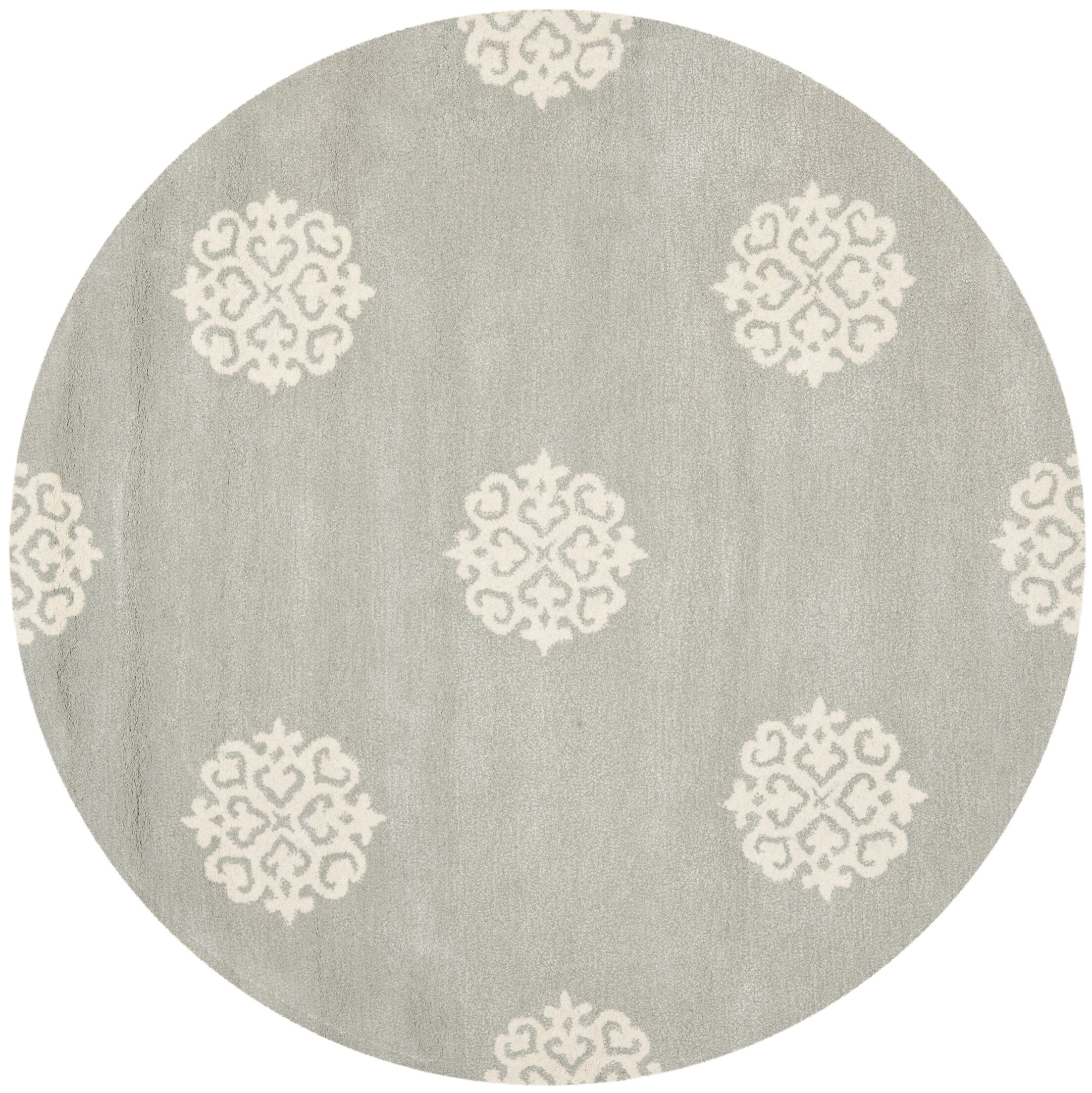 Backstrom Hand-Tufted Gray/Ivory Area Rug Rug Size: Round 4'