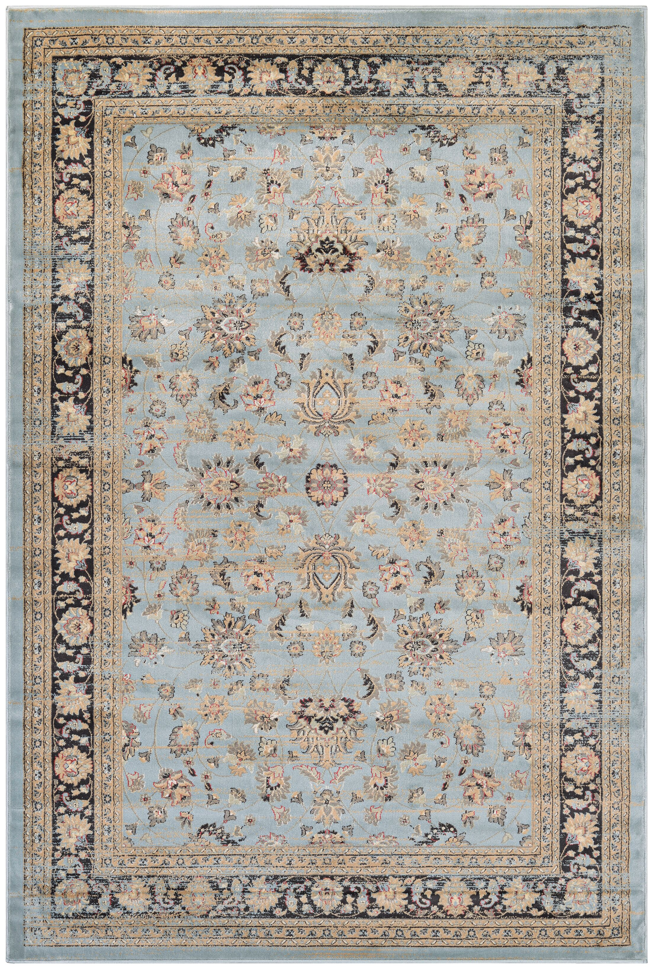 Connors Farahan Amulet Light Blue/Black Area Rug Rug Size: Rectangle 7'1
