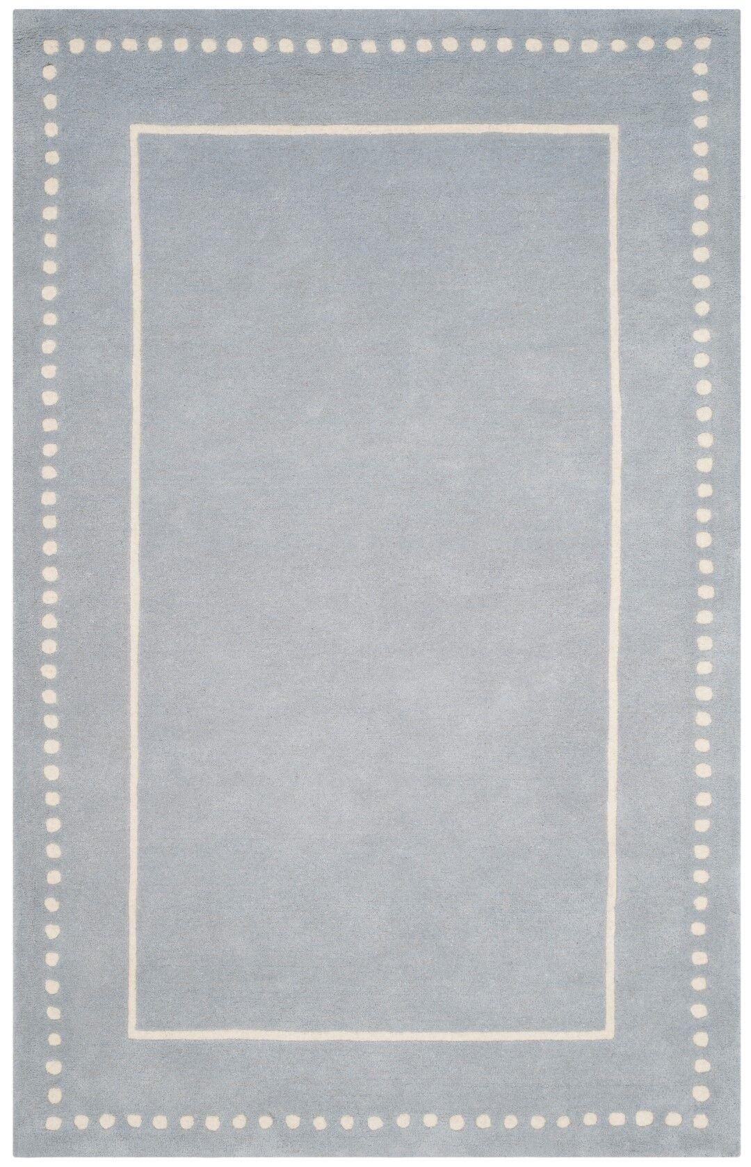 Amundson Hand-Tufted Light Blue/Ivory Area Rug Rug Size: Rectangle 4' x 6'