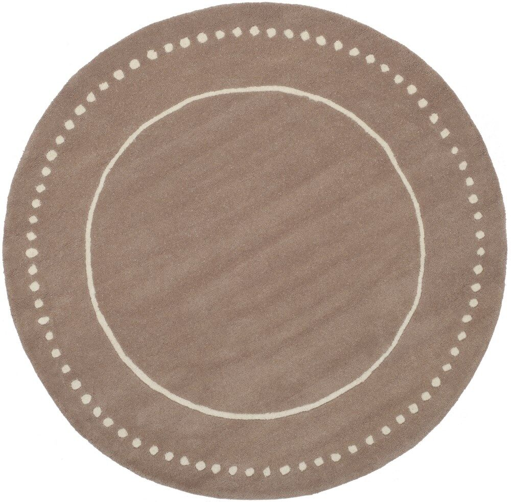 Amundson Hand-Tufted Beige Indoor Area Rug Rug Size: Round 5'