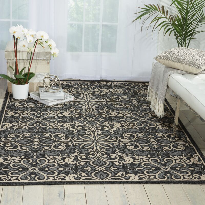 Ashby Charcoal Indoor/Outdoor Area Rug Rug Size: Rectangle 3'11
