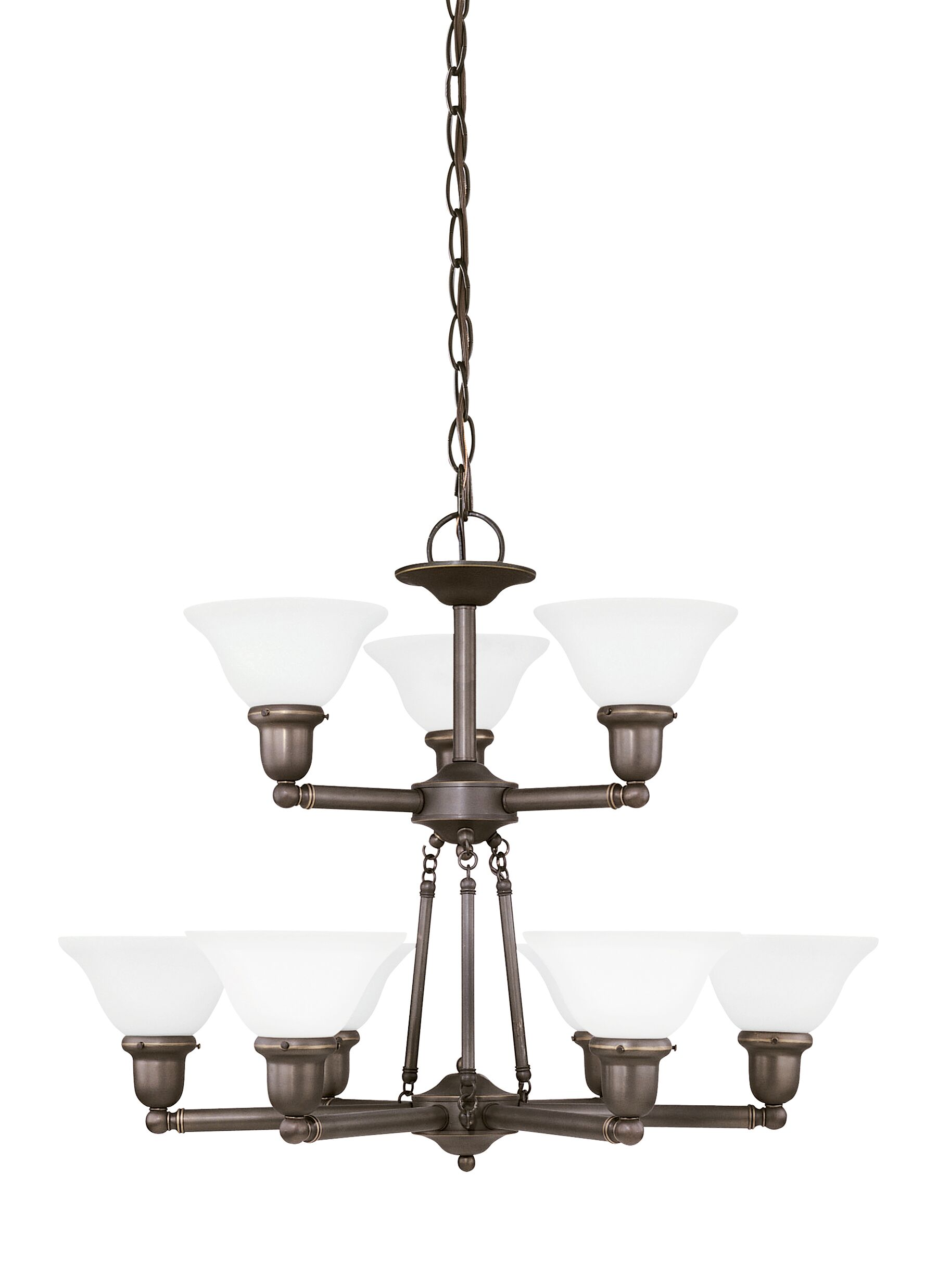 Darmstadt 9-Light Shaded Chandelier Finish: Heirloom Bronze, Shade Color: Satin Etched