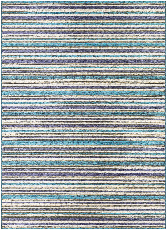 Holdren Cobalt/Teal Indoor/Outdoor Area Rug Rug Size: Rectangle 6'6
