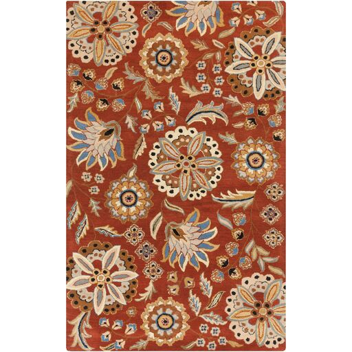 Millwood Hand-Tufted Burnt Orange Area Rug Rug Size: Rectangle 6' x 9'
