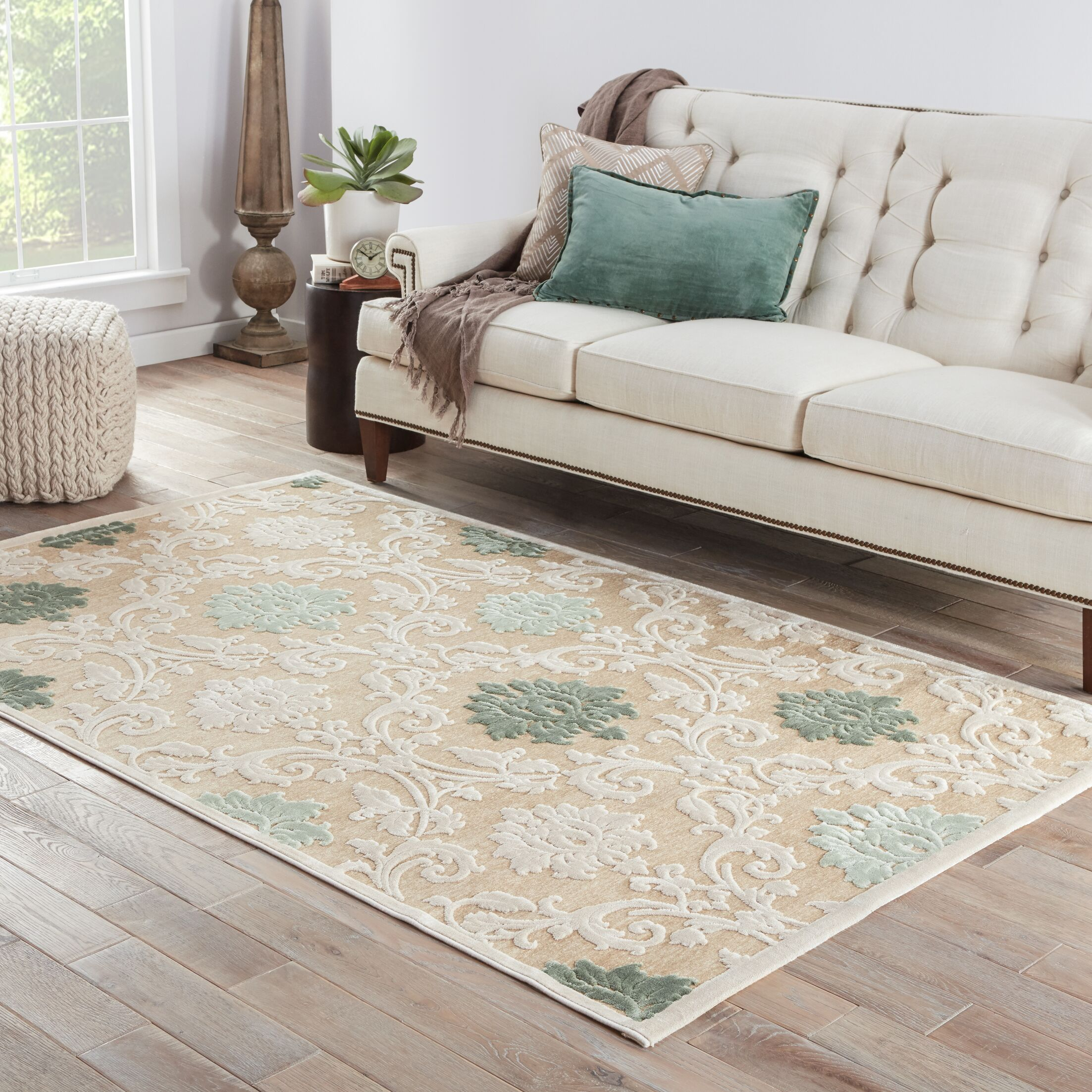 Ada Tufted Chenille Cream/Light Green Area Rug Rug Size: Rectangle 5' x 7'6
