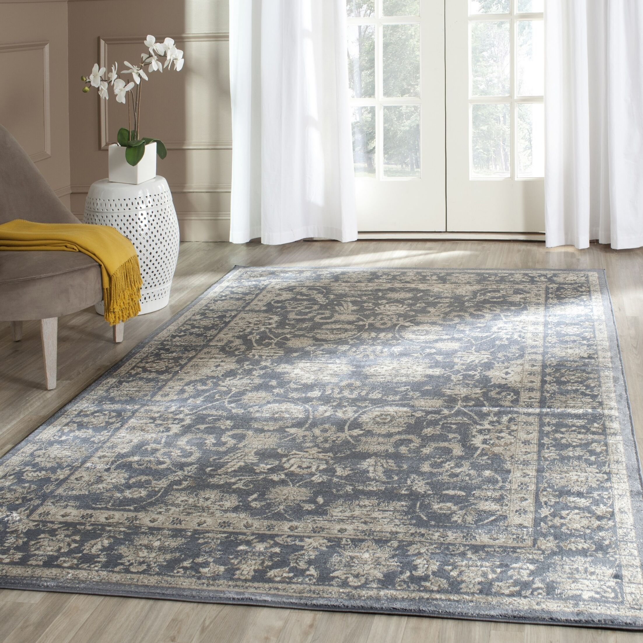Rindge Dark Blue & Cream Area Rug Rug Size: Rectangle 3' x 5'
