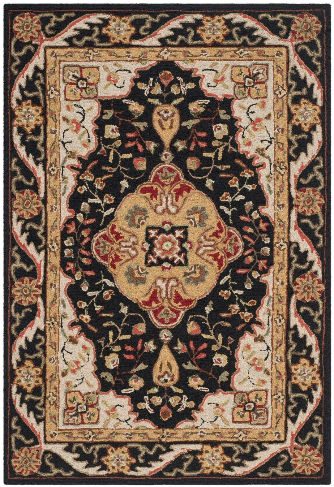Bryonhall Hand Hooked Area Rug Rug Size: Rectangle 4' x 6'