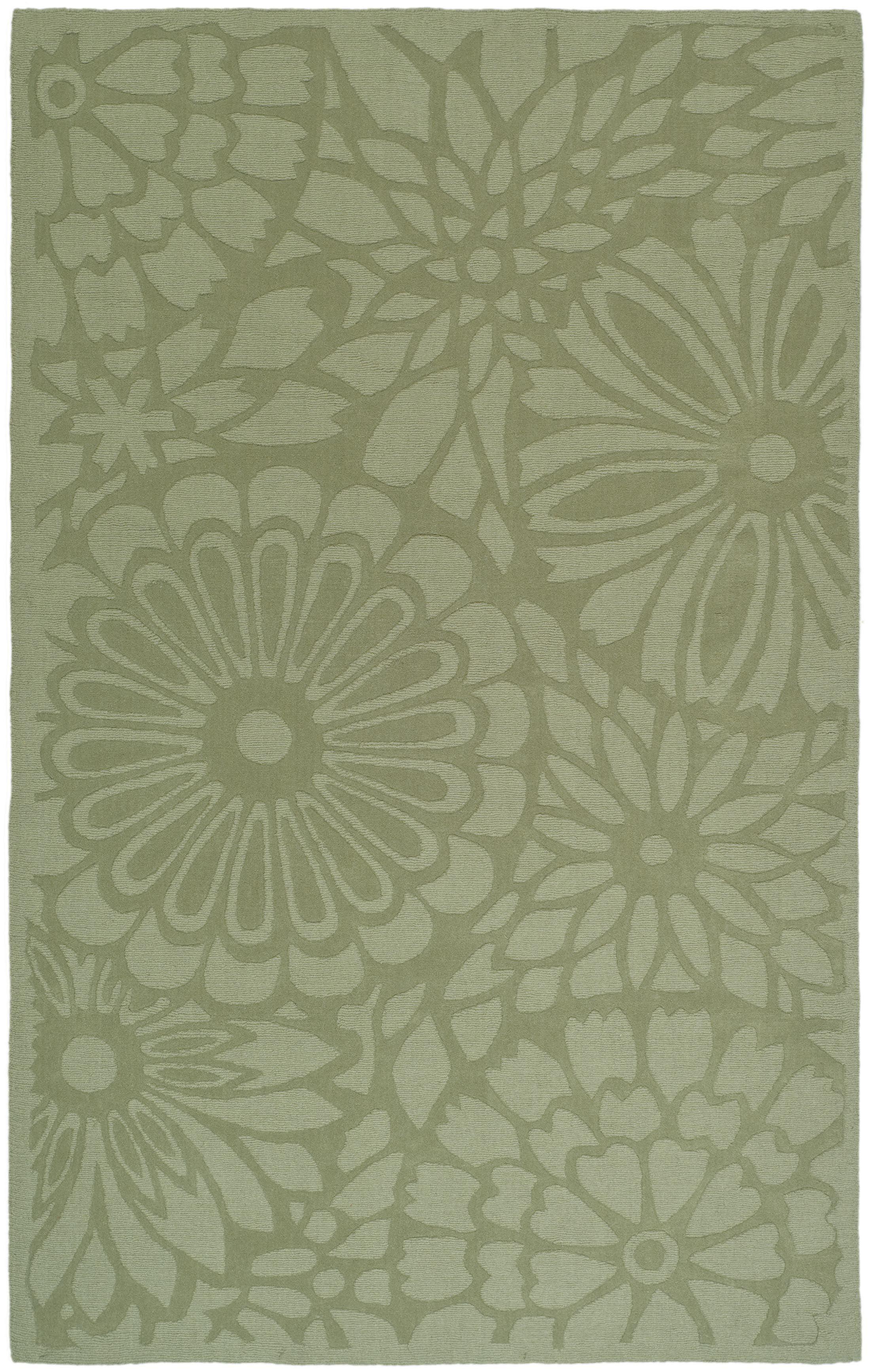 Full Bloom Hand-Woomed Beige/Green Area Rug Rug Size: Rectangle 8' x 10'