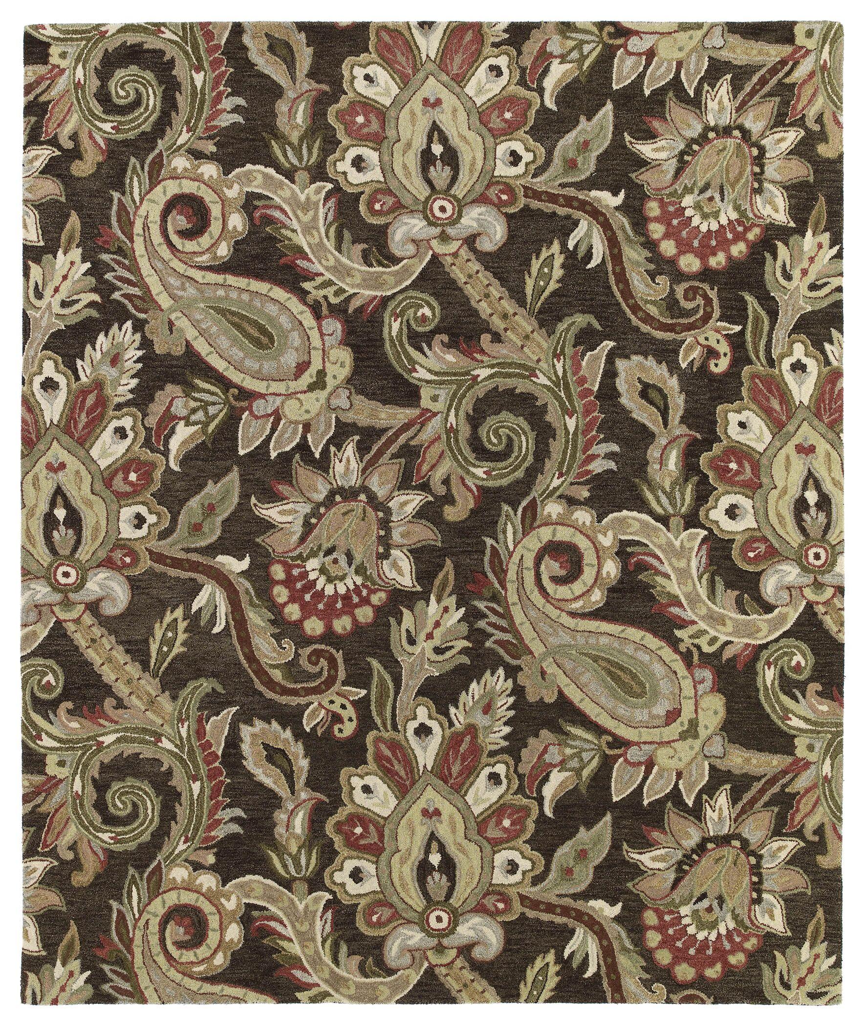 Casper Chocolate Odyusseus Brown/Tan Floral Area Rug Rug Size: Rectangle 8' x 10'