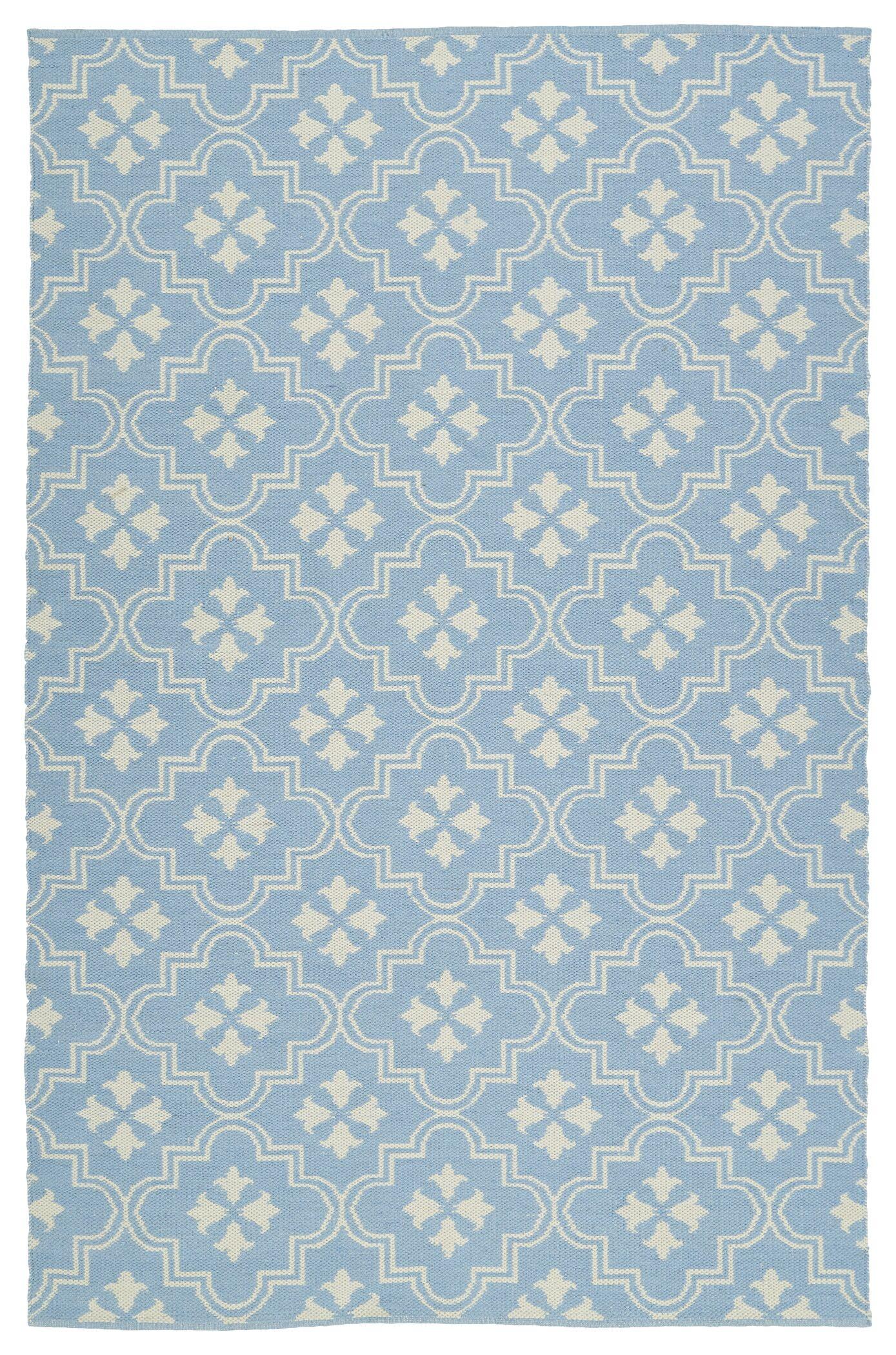 Covington Light Blue/Cream Indoor/Outdoor Area Rug Rug Size: Rectangle 5' x 7'6