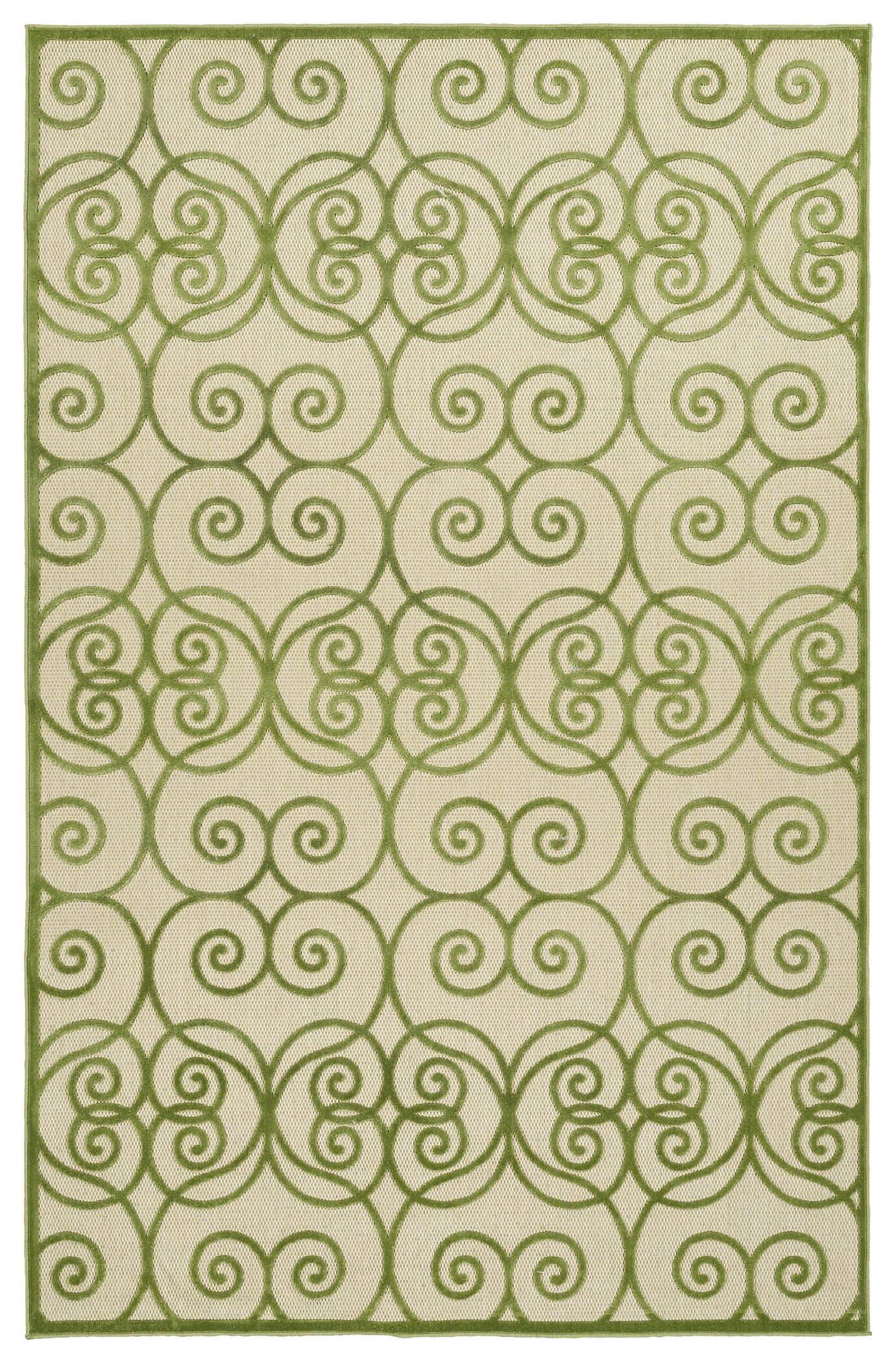 Covedale Green/Cream Indoor/Outdoor Area Rug Rug Size: Rectangle 5' x 7'6