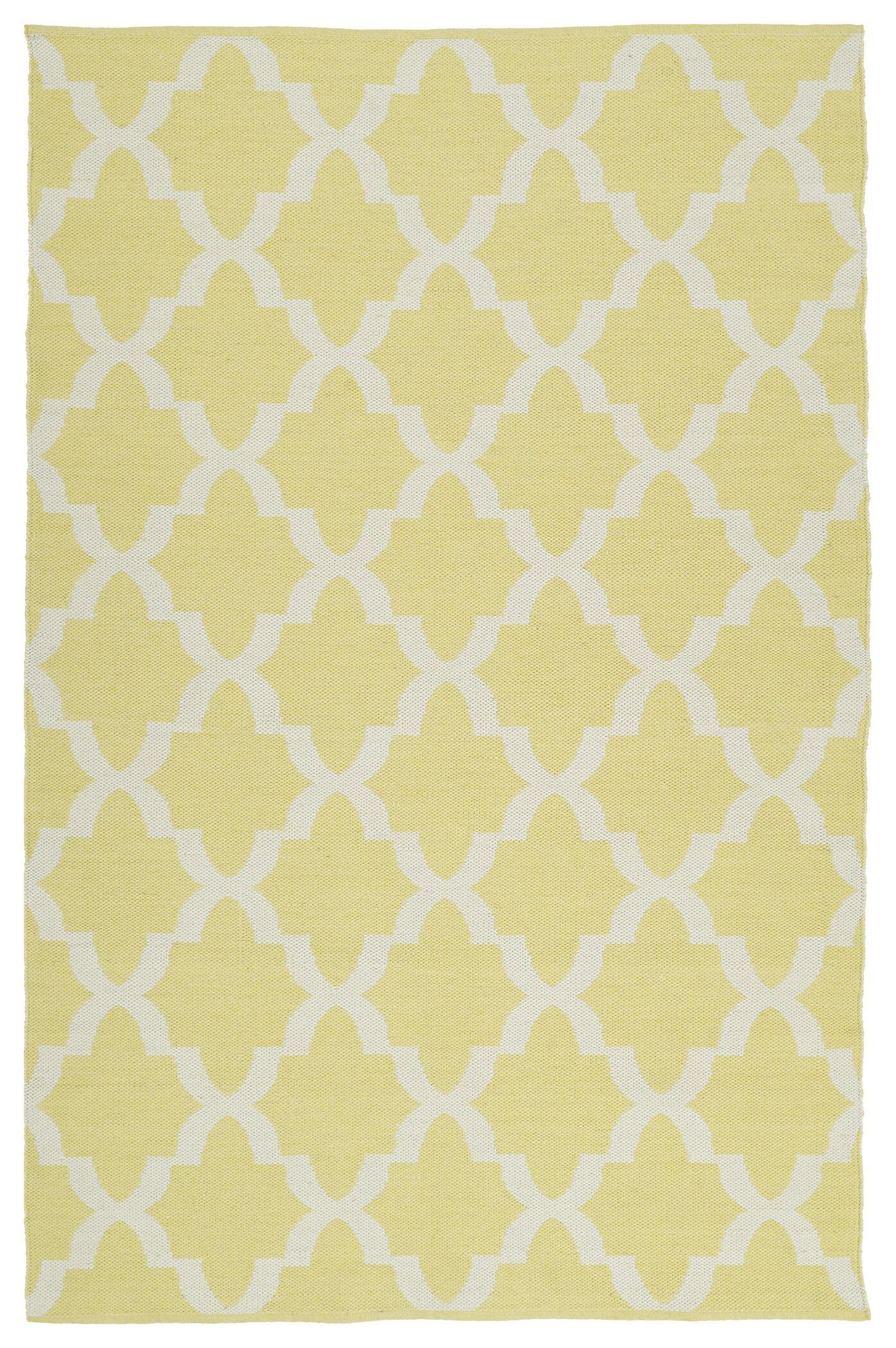 Covington YellowWhite IndoorOutdoor Area Rug Rug Size: Rectangle 9' x 12'