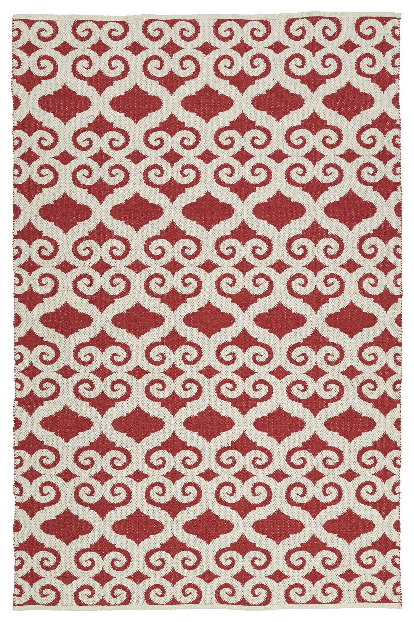 Covington White/Red Indoor/Outdoor Area Rug Rug Size: Rectangle 9' x 12'