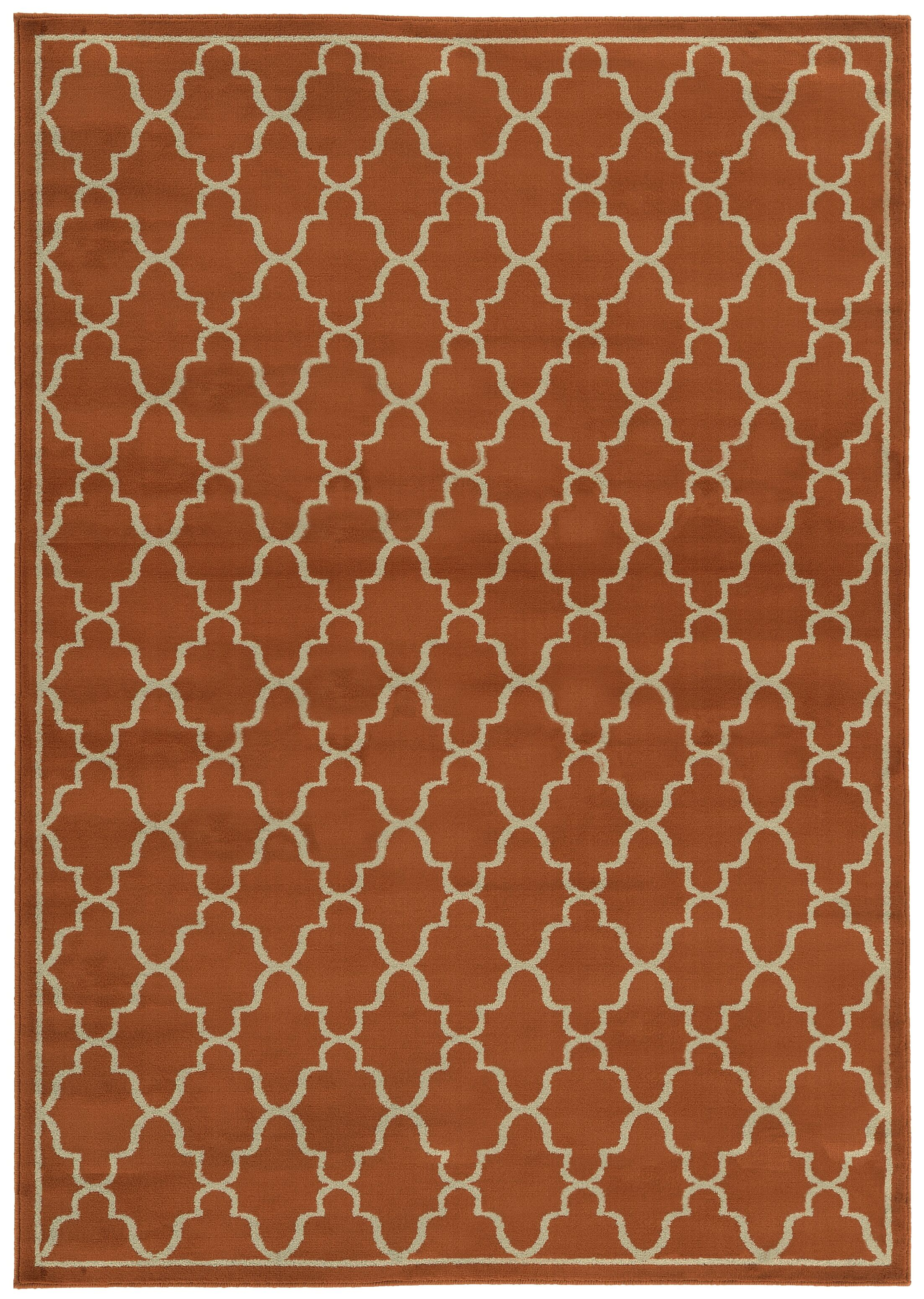 Delshire Lattice Orange Area Rug Rug Size: Rectangle 5'3