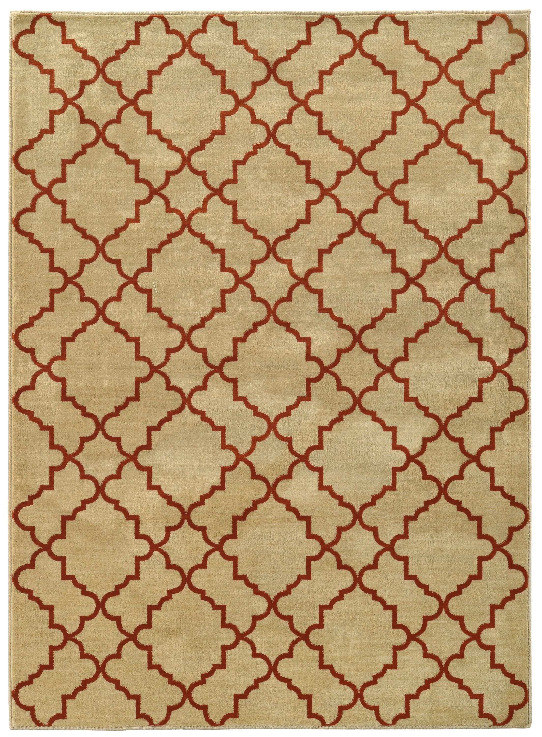 Dewolf Beige/Rust Area Rug Rug Size: Rectangle 7'10