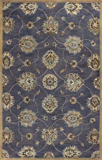 Blarwood Midnight Kashan Hand-Woven Wool Area Rug Rug Size: Round 5'6