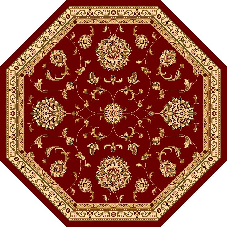 Bellville Red & Beige Area Rug Rug Size: Octagon 7'7